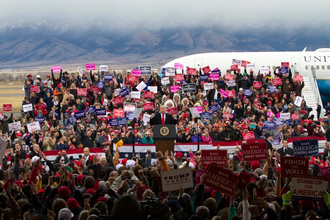 President Donald Trump speaks during a campaign rally at Bozeman Yellowstone International Airport, Saturday, Nov. 3, 2018, in Belgrade, Mont. (AP Photo/Janie Osborne)