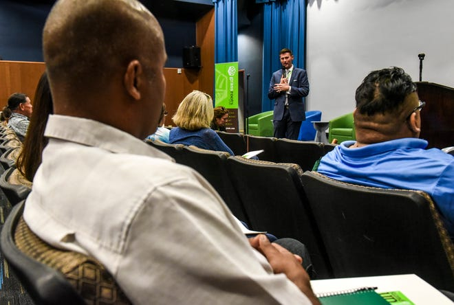 Nic Easley, 3C Consulting CEO, speaks during the Cultivating Change workshop, hosted by Grassroots Guam group, at the Guam Museum in Hagåtña on Saturday, Nov. 3, 2018. The day-long event was held to bring community stakeholders together in hopes to motivate government leaders to take steps in facilitating the therapuetic use of medicinal cannabis since the passage of the KC Concepcion Compassionate Use Act in 2014.