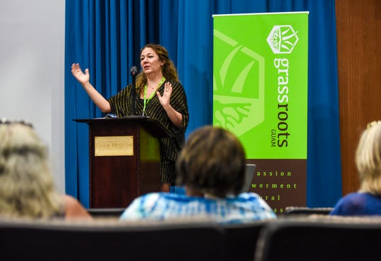 Steph Sherer, Americans for Safe Access founder and executive director, addresses a question from the audience during the Cultivating Change workshop at the Guam Museum in Hagåtña on Saturday, Nov. 3, 2018. The day-long event, hosted by Grassroots Guam group, was held to bring community stakeholders together in hopes to motivate government leaders to take steps in facilitating the therapuetic use of medicinal cannabis since the passage of the KC Concepcion Compassionate Use Act in 2014.