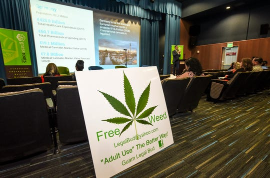 A sign is displayed during the Cultivating Change workshop at the Guam Museum in Hagåtña on Saturday, Nov. 3, 2018. The day-long event, hosted by Grassroots Guam group, was held to bring community stakeholders together in hopes to motivate government leaders to take steps in facilitating the therapuetic use of medicinal cannabis since the passage of the KC Concepcion Compassionate Use Act in 2014.