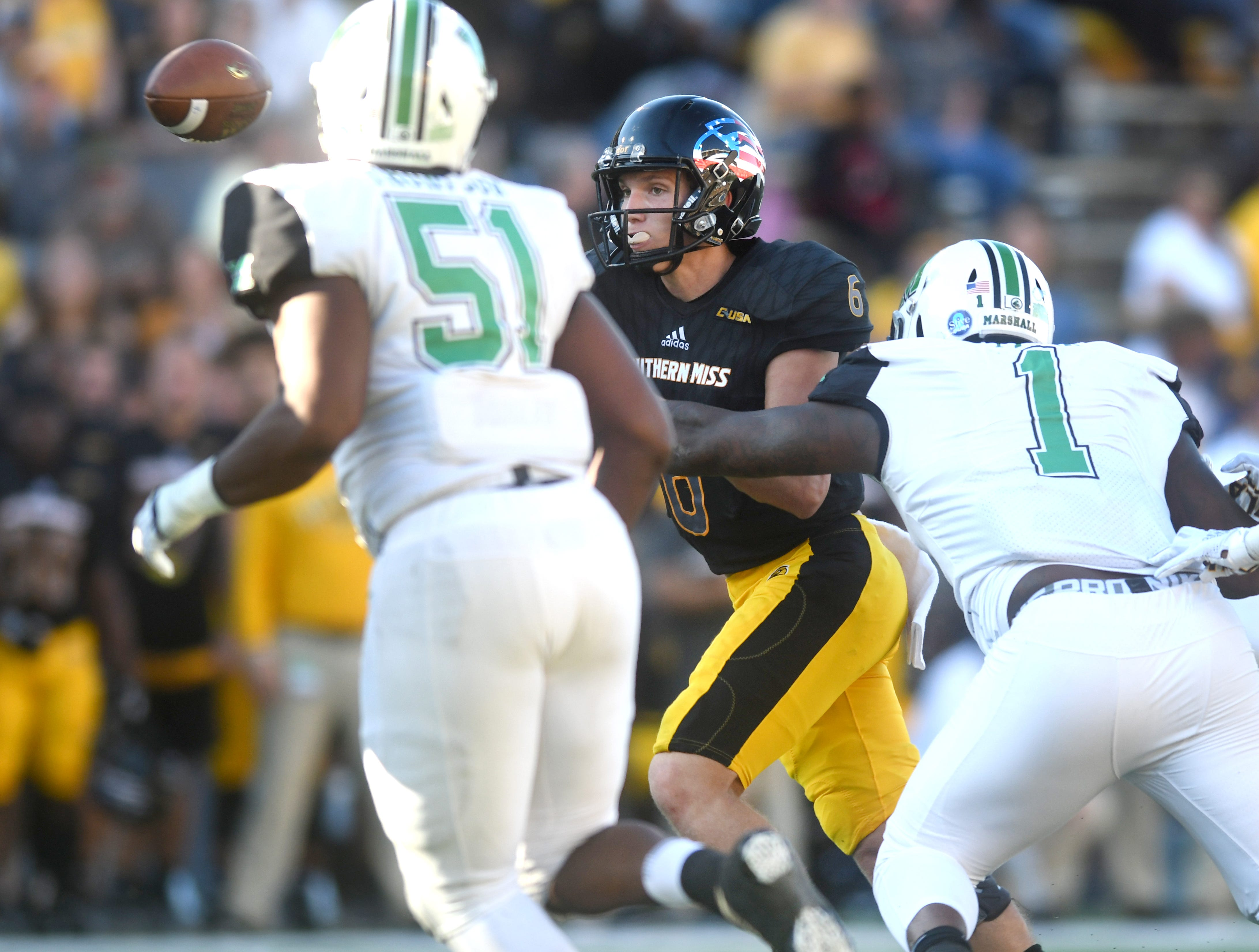 Southern Miss quarterback Tate Whatley throws the ball to a receiver in a game against Marshall at M.M. Roberts Stadium on Saturday, November 3, 2018.