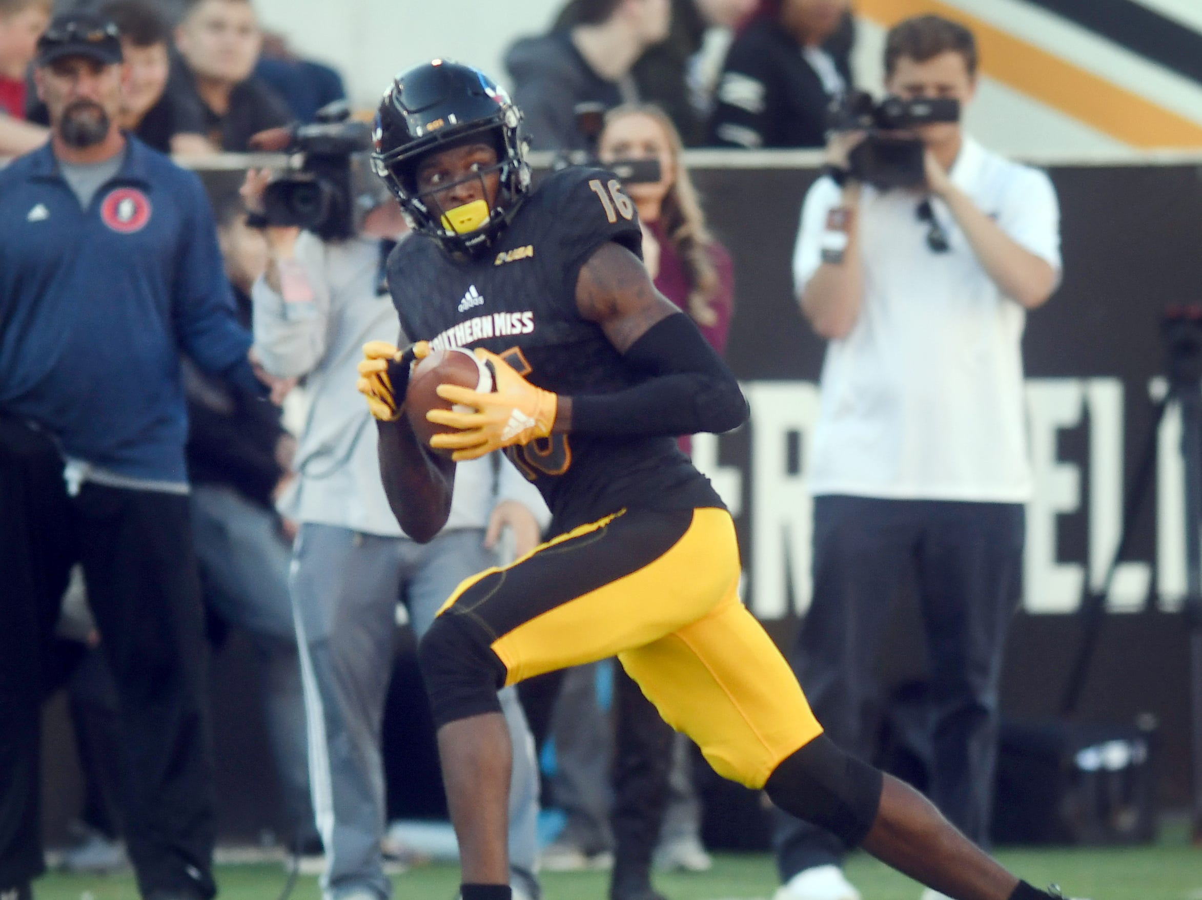 Southern Miss wide receiver Quez Watkins carries the ball in a game against Marshall at M.M. Roberts Stadium on Saturday, November 3, 2018.