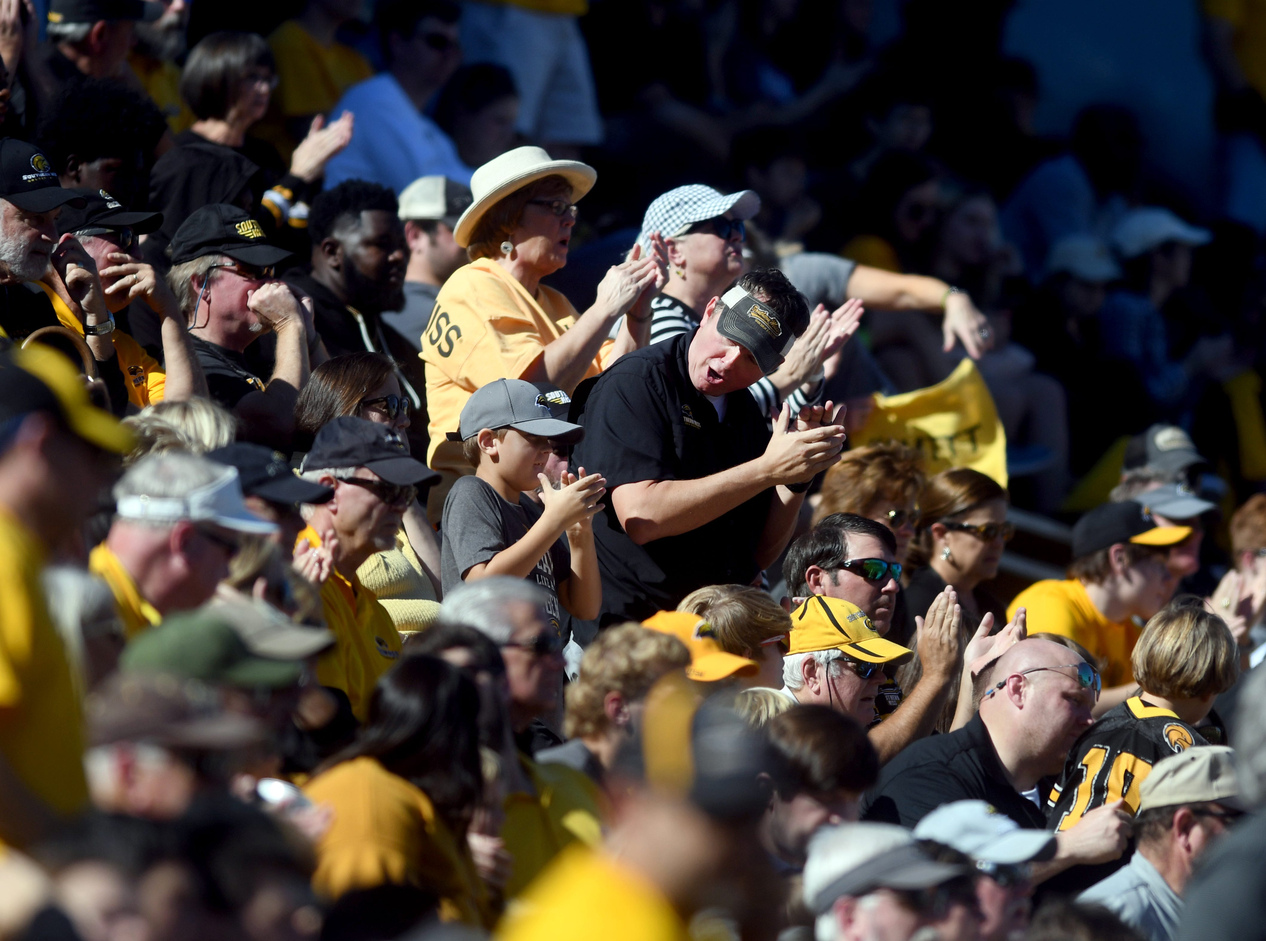 Southern Miss fans cheer on their team in a game against Marshall at M.M. Roberts Stadium on Saturday, November 3, 2018.