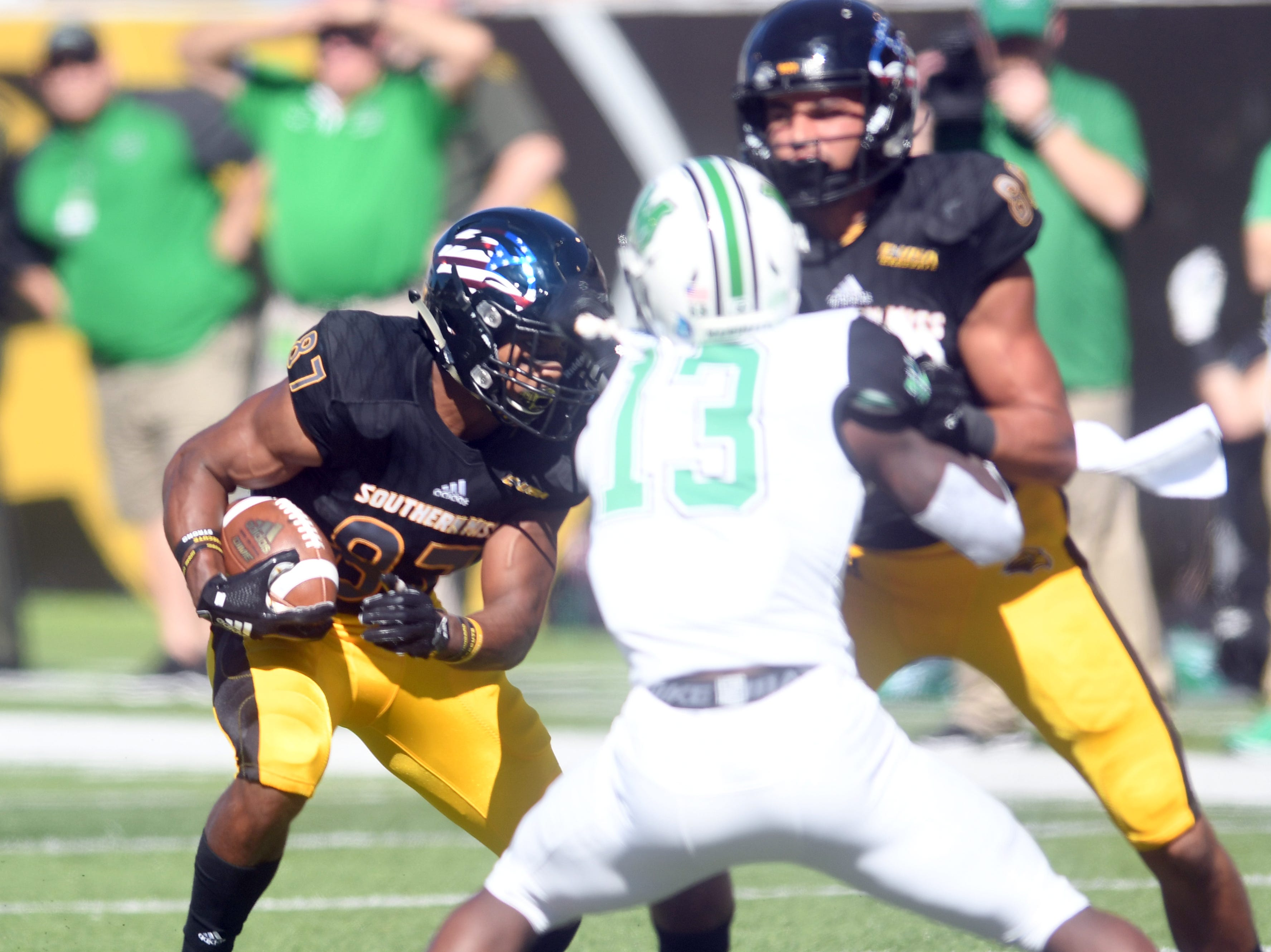 Southern Miss wide receiver Brad Dennis carries the ball in a game against Marshall at M.M. Roberts Stadium on Saturday, November 3, 2018.