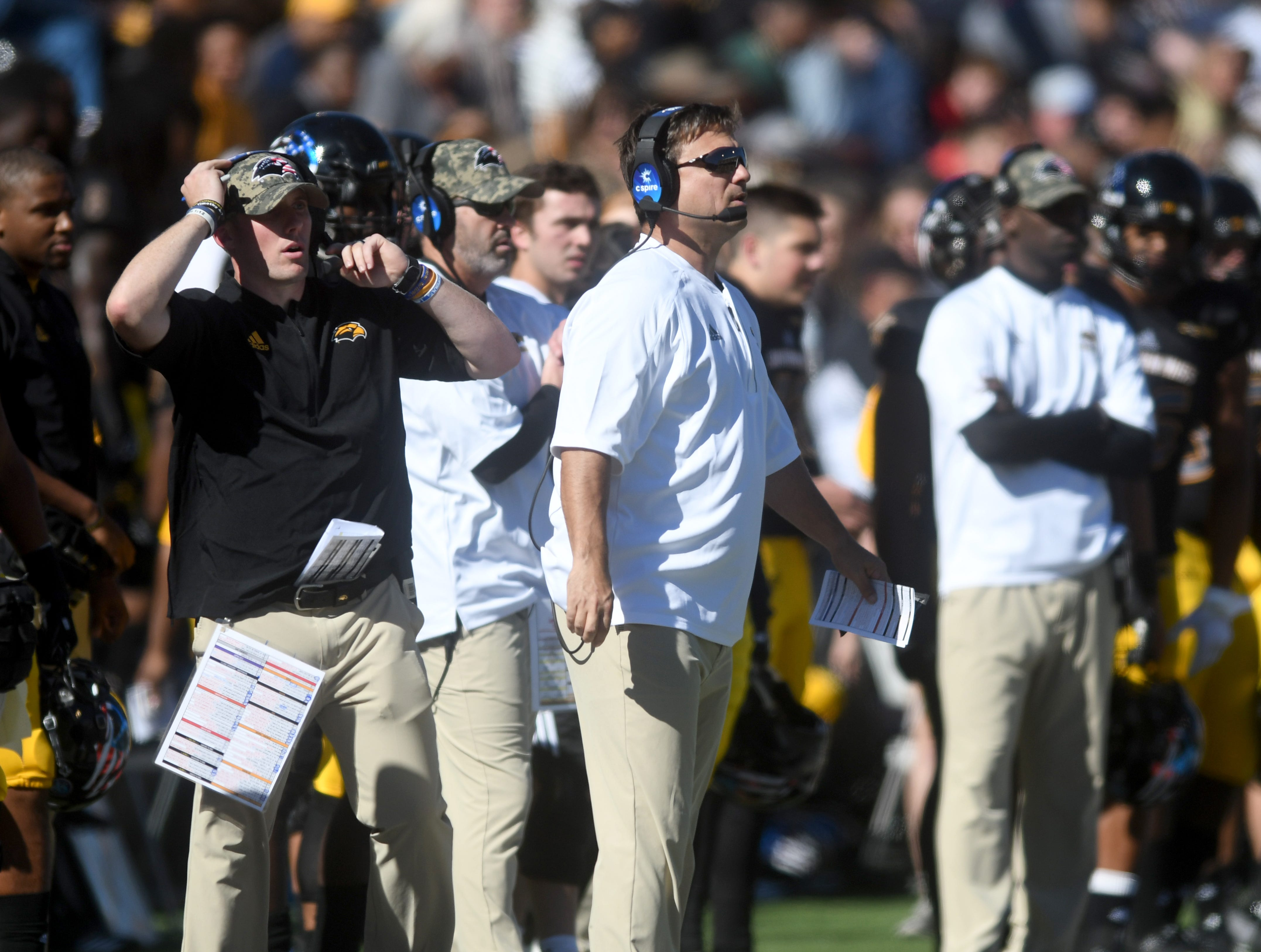 Southern Miss offensive coordinator Shannon Dawson watches from the sideline in a game against Marshall at M.M. Roberts Stadium on Saturday, November 3, 2018.