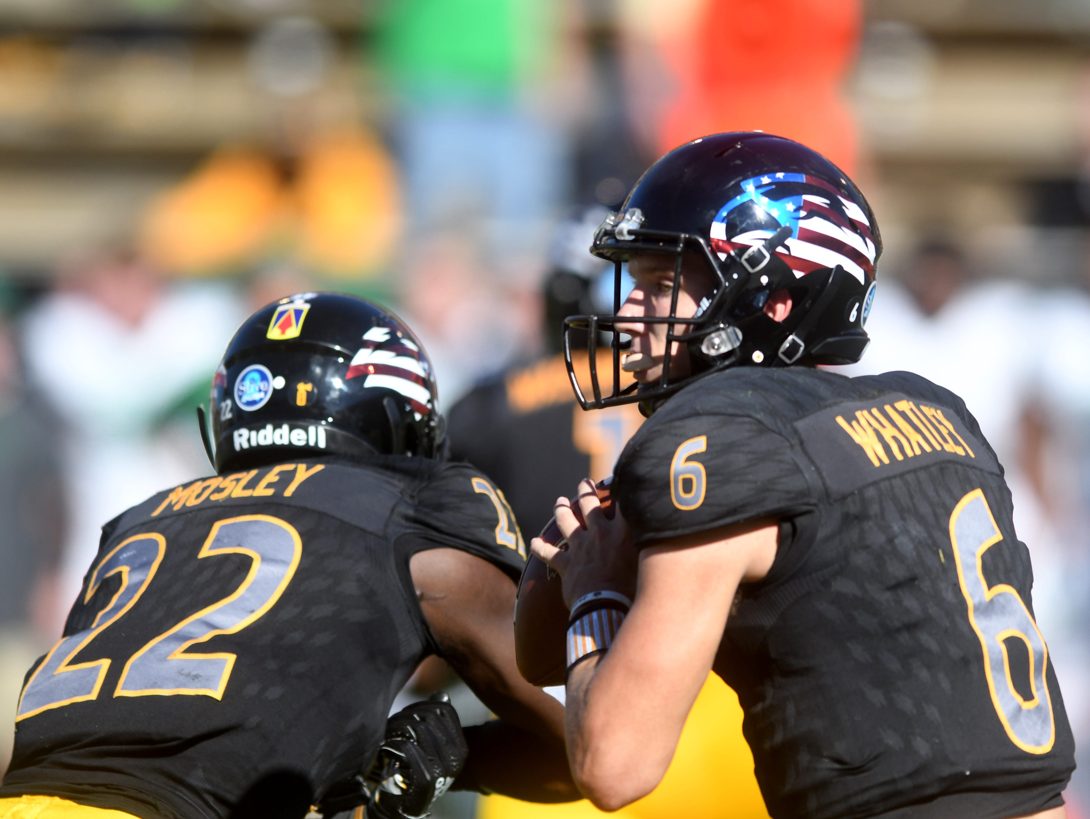Southern Miss quarterback Tate Whatley looks for a receiver in a game against Marshall at M.M. Roberts Stadium on Saturday, November 3, 2018.