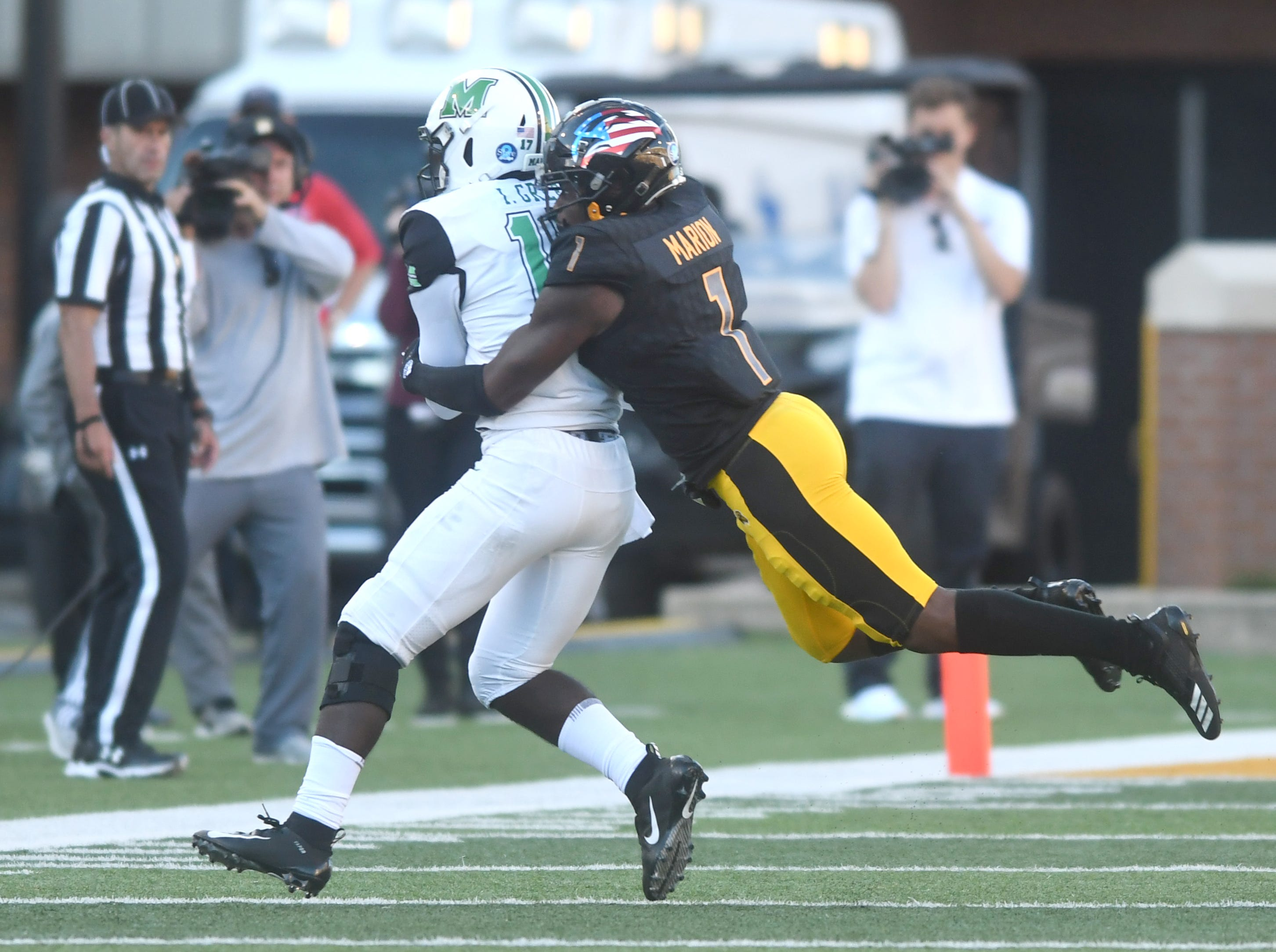 Southern Miss defensive back Xavier Marion makes a tackle in a game against Marshall at M.M. Roberts Stadium on Saturday, November 3, 2018.