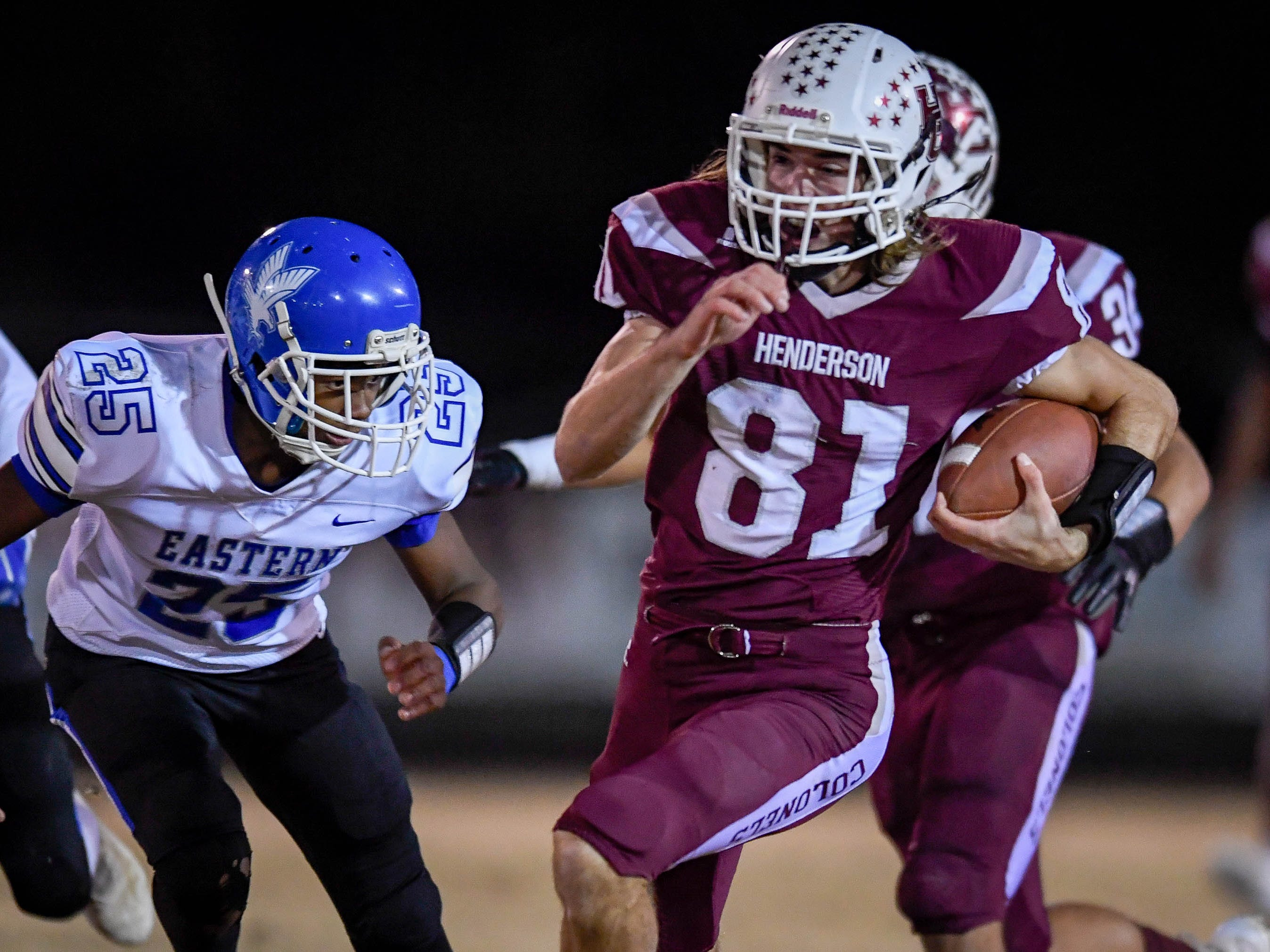 Henderson's Nick Cissell (81) on a touchdown run as the Henderson County Colonels play the Louisville Eastern Eagles in the first round of the 6-A playoffs at Colonel Field Friday, November 2, 2018.