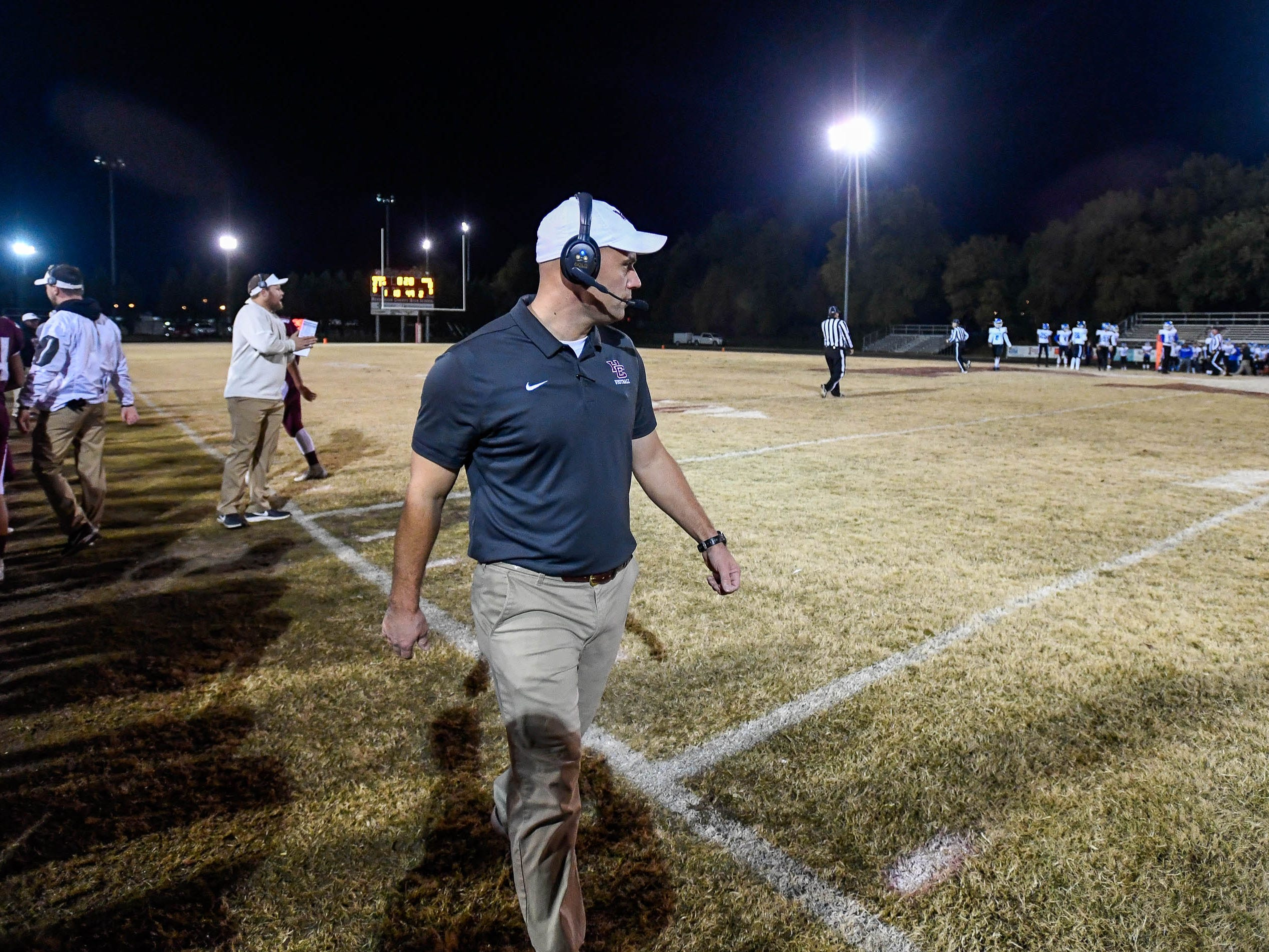 Henderson head coach Josh Boston as the Henderson County Colonels play the Louisville Eastern Eagles in the first round of the 6-A playoffs at Colonel Field Friday, November 2, 2018.