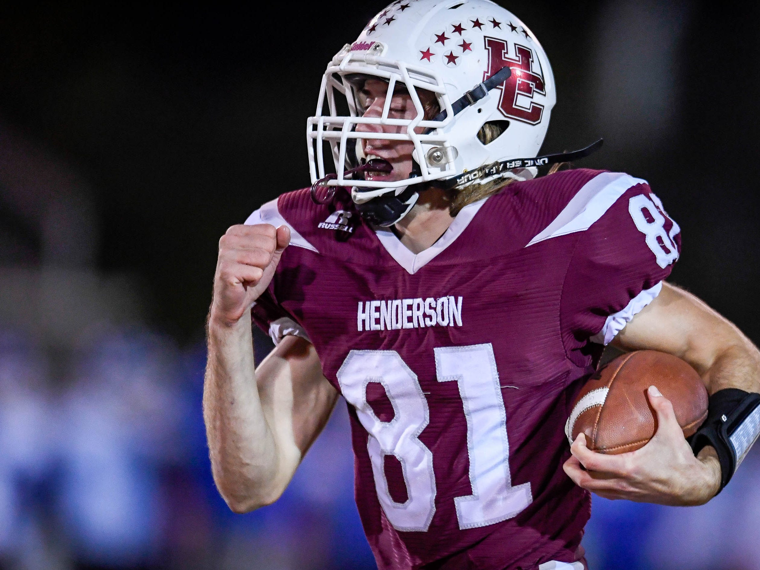 Henderson's Nick Cissell (81) on a 66 yard touckdown run as the Henderson County Colonels play the Louisville Eastern Eagles in the first round of the 6-A playoffs at Colonel Field Friday, November 2, 2018.