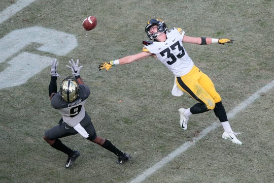 Last season in Purdue, it was wide receiver Terry Wright who tormented Iowa defensive backs such as Riley Moss (33) in a 38-36 Boilermaker win. Wright has graduated, but Purdue never lacks options in its passing attack, which is the most prolific in the Big Ten Conference. The Hawkeyes are planning better ways to combat that when the teams meet again Saturday in Kinnick Stadium.