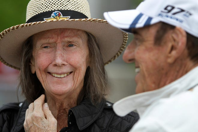 Mari Hulman George and Jim Nabors laughed before opening ceremonies at the 97th running of the Indianapolis 500, at the Indianapolis Motor Speedway, on May 26, 2013.
