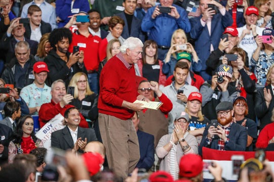 Former IU head coach Bobby Knight takes the stage to campaign for Republican senatorial candidate Mike Braun during a rally at Southport Fieldhouse on Friday, Nov. 2, 2018.