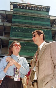 Mari Hulman George and son Tony George in front of the main pagoda at the Indianapolis Motor Speedway in 2000.