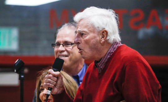 Former IU head basketball coach Bobby Knight speaks during a rally for Republican candidate Mike Braun at Southport Fieldhouse on Friday, Nov. 2, 2018.