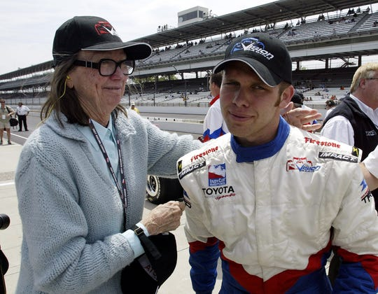 Ed Carpenter, right, talks with Mari Hulman George, his step-grandmother and Chairman of the Board of the Indianapolis Motor Speedway, in May of 2005.