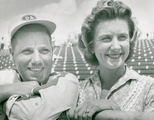 Elmer George and his wife Mari Hulman George on May 10, 1957.