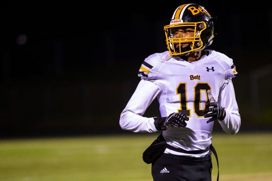 Bettendorf's Darien Porter (10) looks to the sideline during a Class 4A quarter final football game on Friday, Nov. 2, 2018, at Trojan Field in Iowa City.