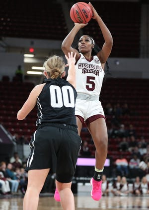 Anriel Howard shined in her first game at Mississippi State. She scored 23 points and pulled down 11 rebounds in State's 97-56 victory over Central Missouri.