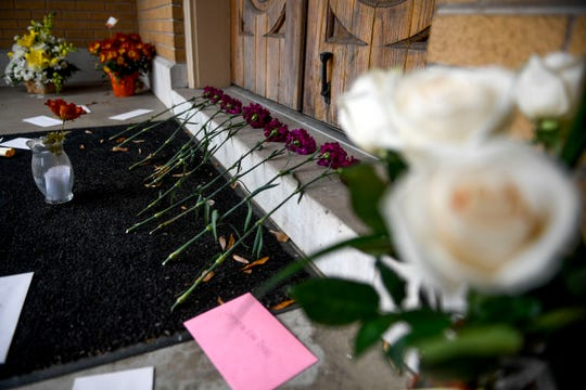 Offerings of letters, gifts, and even 11 roses representing the victims of a shooting in Pittsburgh can be seen at the doorstep of Congregation B'nai Israel in Jackson, Tenn., on Friday, Nov. 2, 2018.