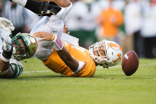 Tennessee quarterback Jarrett Guarantano (2) is taken down during the homecoming game between Tennessee and Charlotte outside of Neyland Stadium Saturday, Nov. 3, 2018.