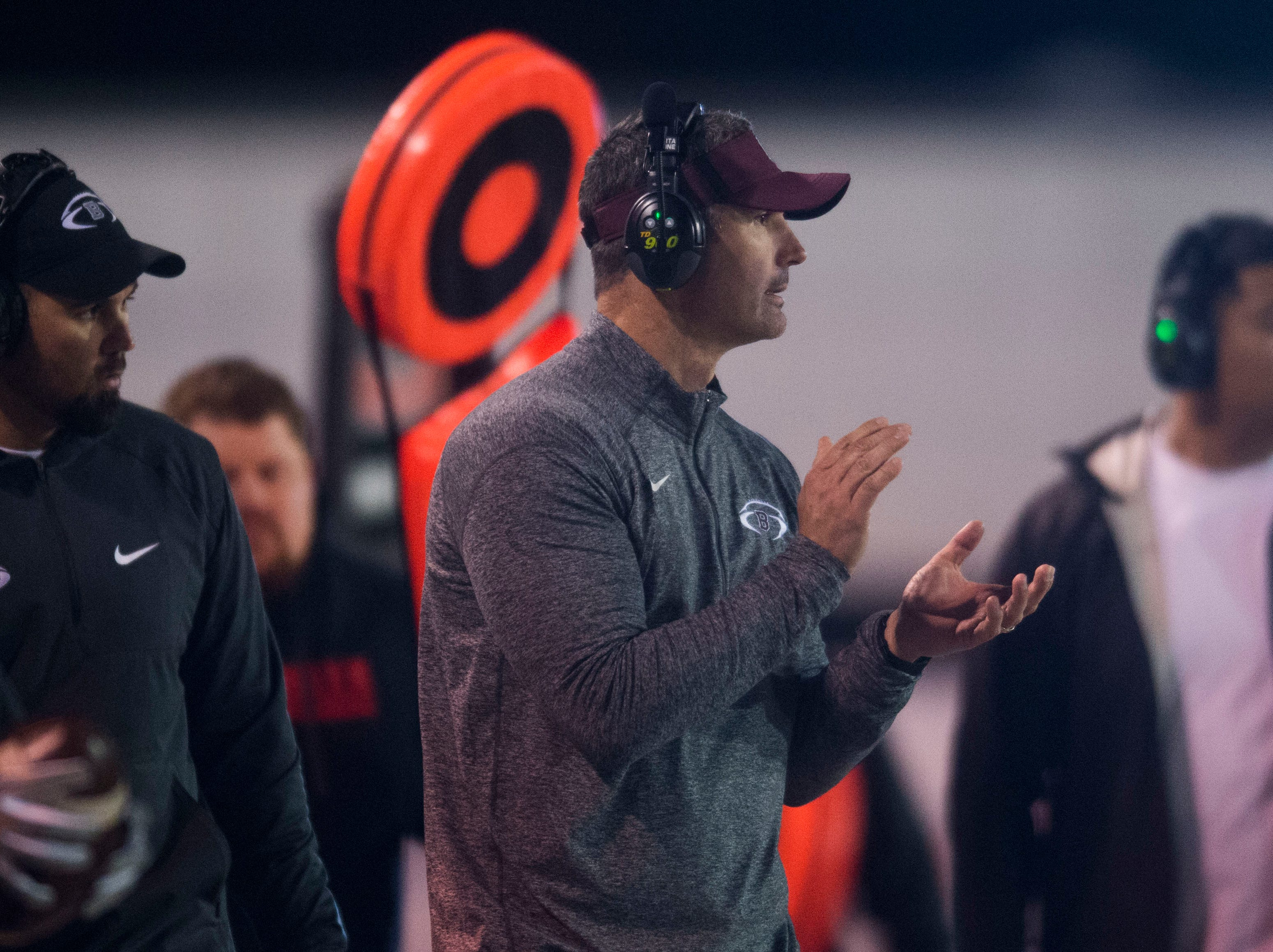 Bearden's head coach Morgan Shinlever stands on the sidelines during a first round playoff game between Maryville and Bearden at Maryville, Friday, Nov. 2, 2018. Maryville defeated Bearden 28-7.