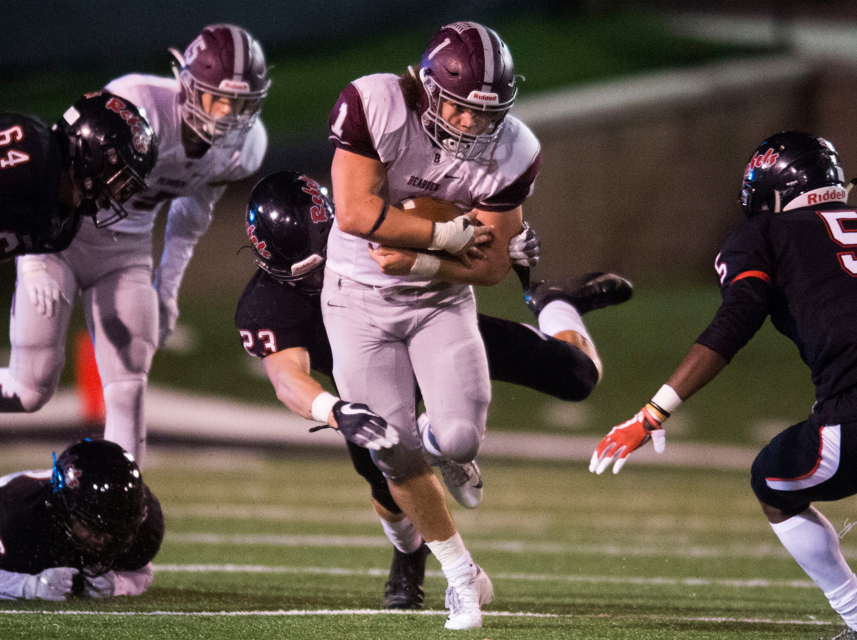 Bearden's Caleb Wilkins (1) runs the ball during a first round playoff game between Maryville and Bearden at Maryville, Friday, Nov. 2, 2018. Maryville defeated Bearden 28-7.