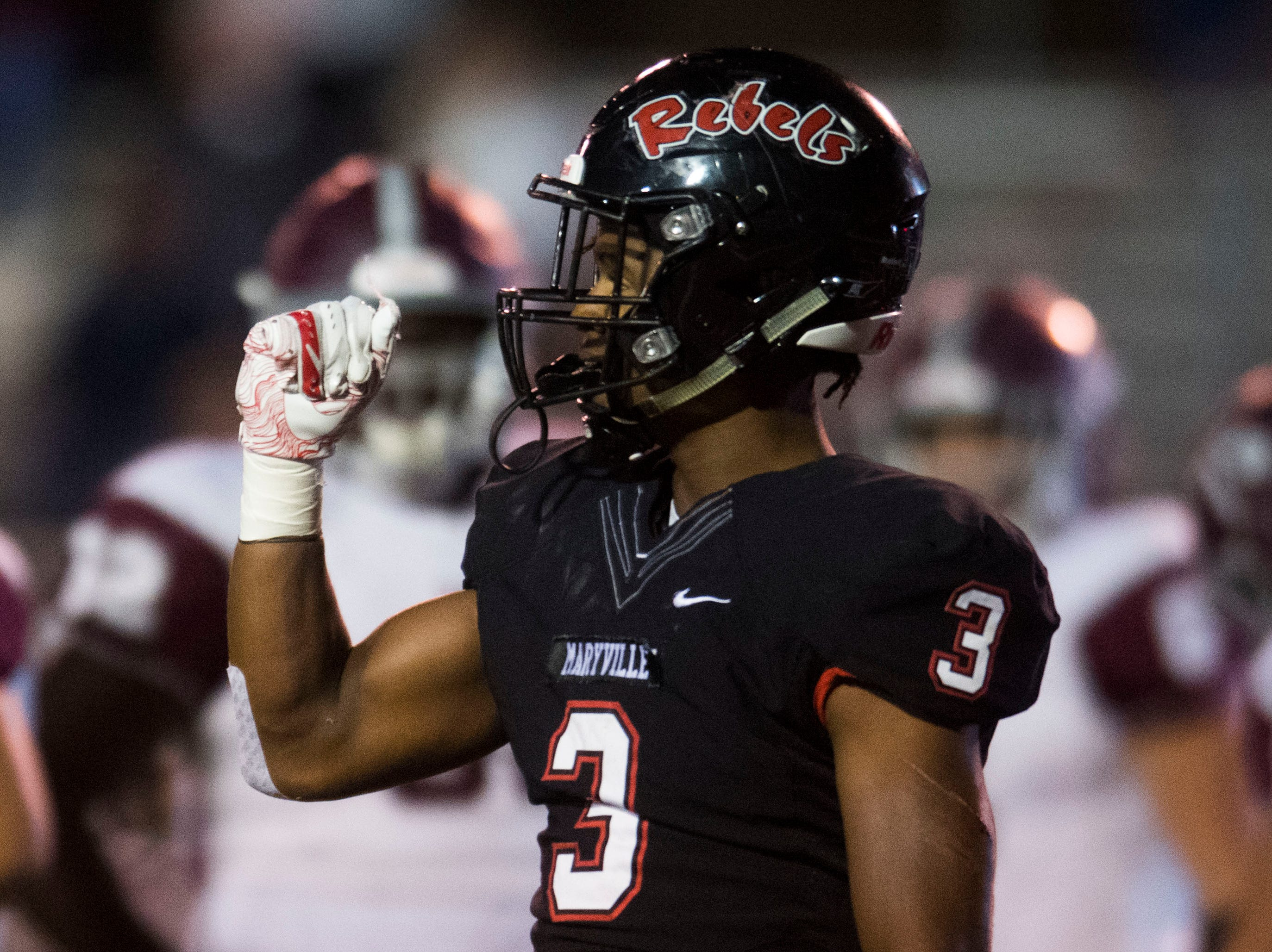 Maryville's A.J. Davis (3) celebrates stopping Bearden feet from the end zone during a first round playoff game between Maryville and Bearden at Maryville, Friday, Nov. 2, 2018. Maryville defeated Bearden 28-7.