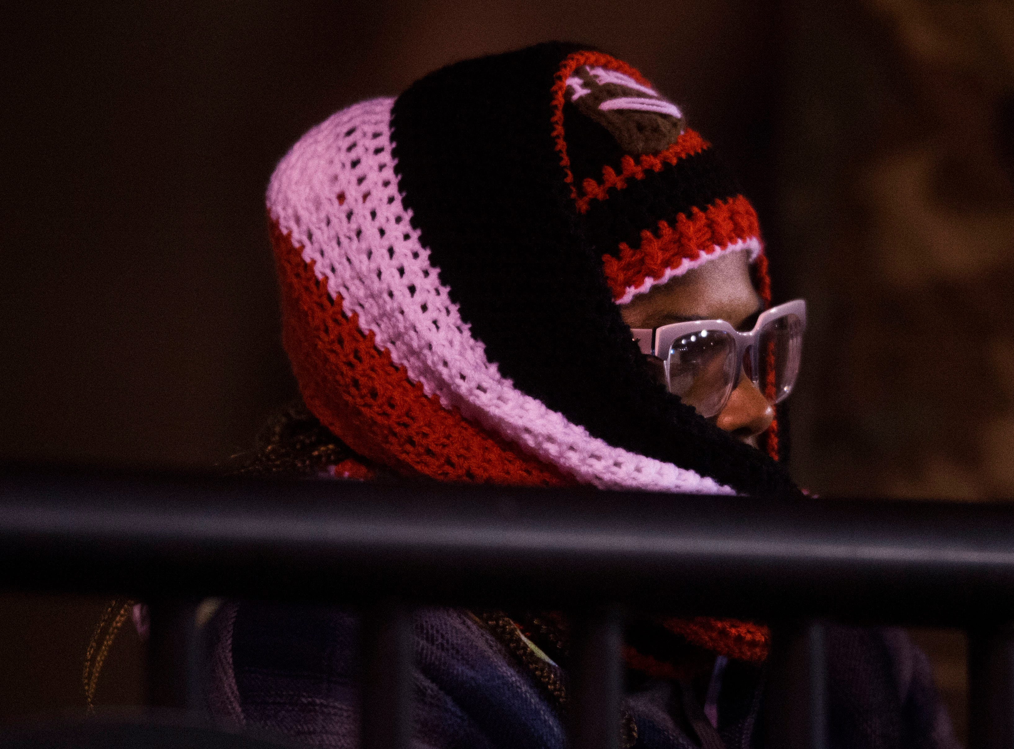A Maryville fan sits bundled up behind the end zone during a first round playoff game between Maryville and Bearden at Maryville, Friday, Nov. 2, 2018. Maryville defeated Bearden 28-7.