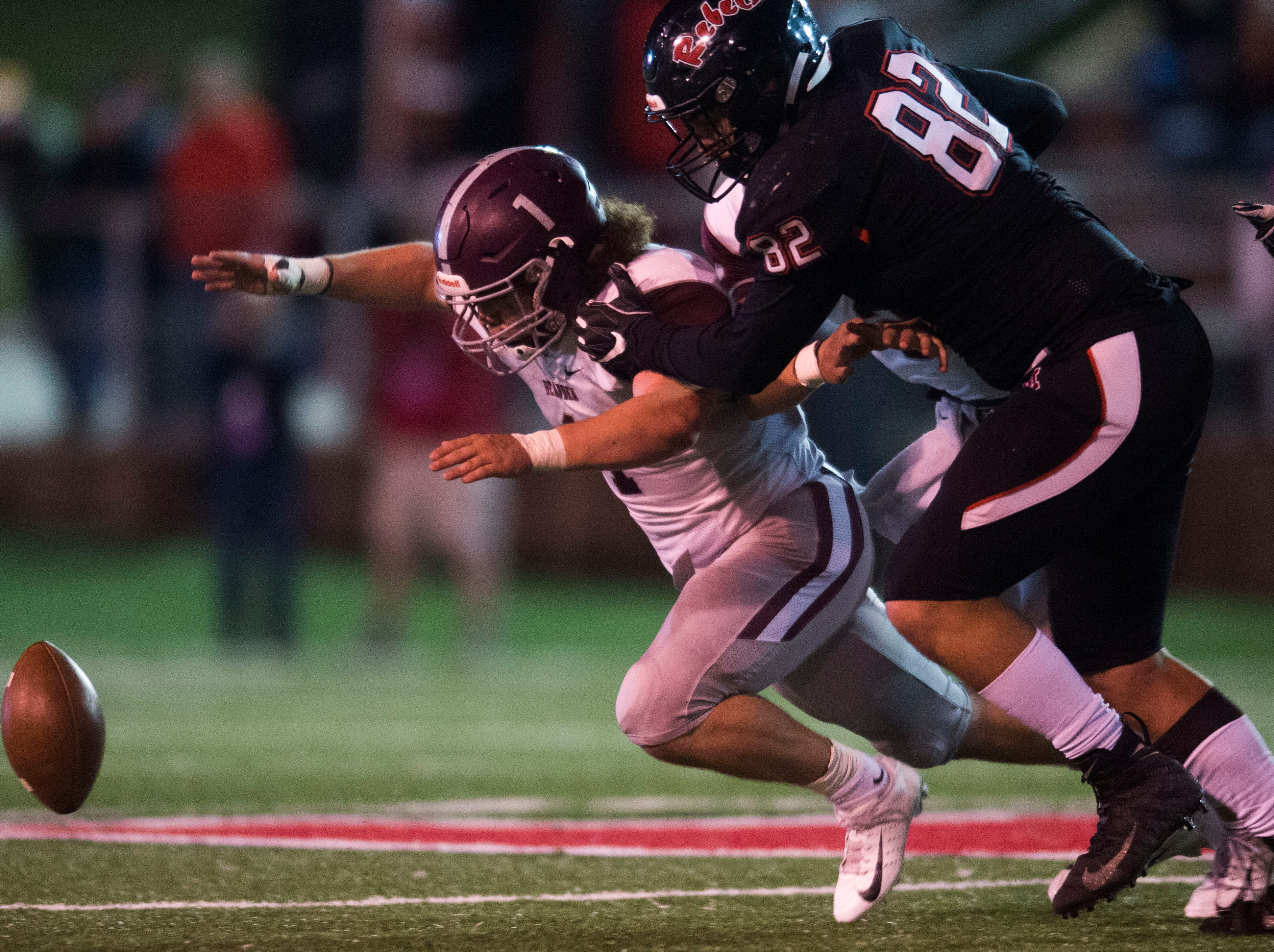 Bearden's Caleb Wilkins (1) attempts to recover a fumbled ball during a first round playoff game between Maryville and Bearden at Maryville, Friday, Nov. 2, 2018. Maryville defeated Bearden 28-7.