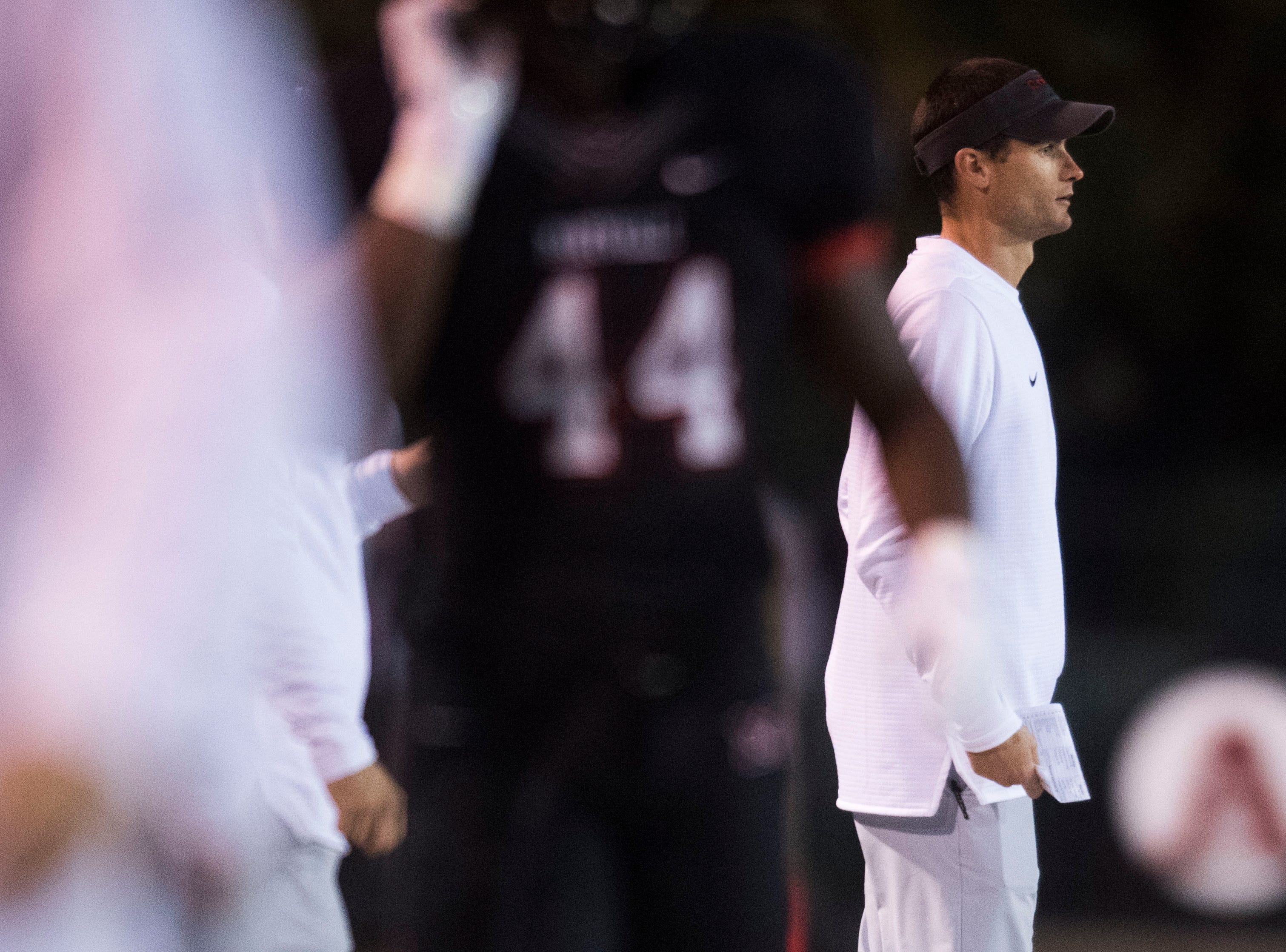 Maryville Head Coach Derek Hunt stands on the sidelines during a first round playoff game between Maryville and Bearden at Maryville, Friday, Nov. 2, 2018. Maryville defeated Bearden 28-7.