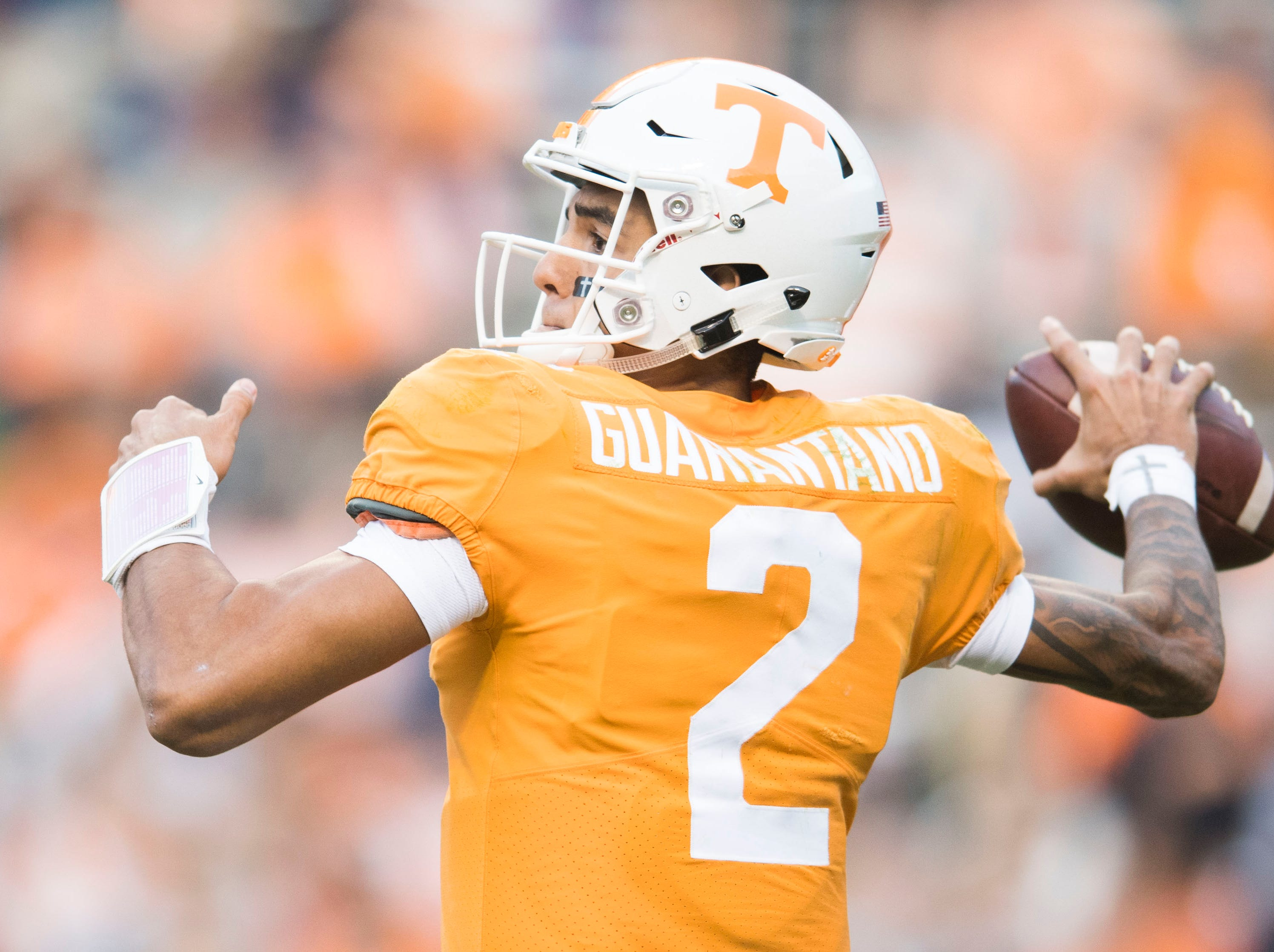 Tennessee quarterback Jarrett Guarantano (2) throws the ball during the homecoming game between Tennessee and Charlotte outside of Neyland Stadium Saturday, Nov. 3, 2018.