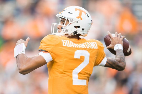 Tennessee's Jarrett Guarantano during last week's game against Charlotte.