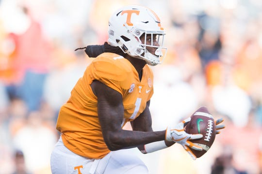Tennessee wide receiver Marquez Callaway (1) catches a pass during Tennessee's homecoming game against Charlotte at Neyland Stadium in Knoxville, Tennessee on Saturday, November 3, 2018.