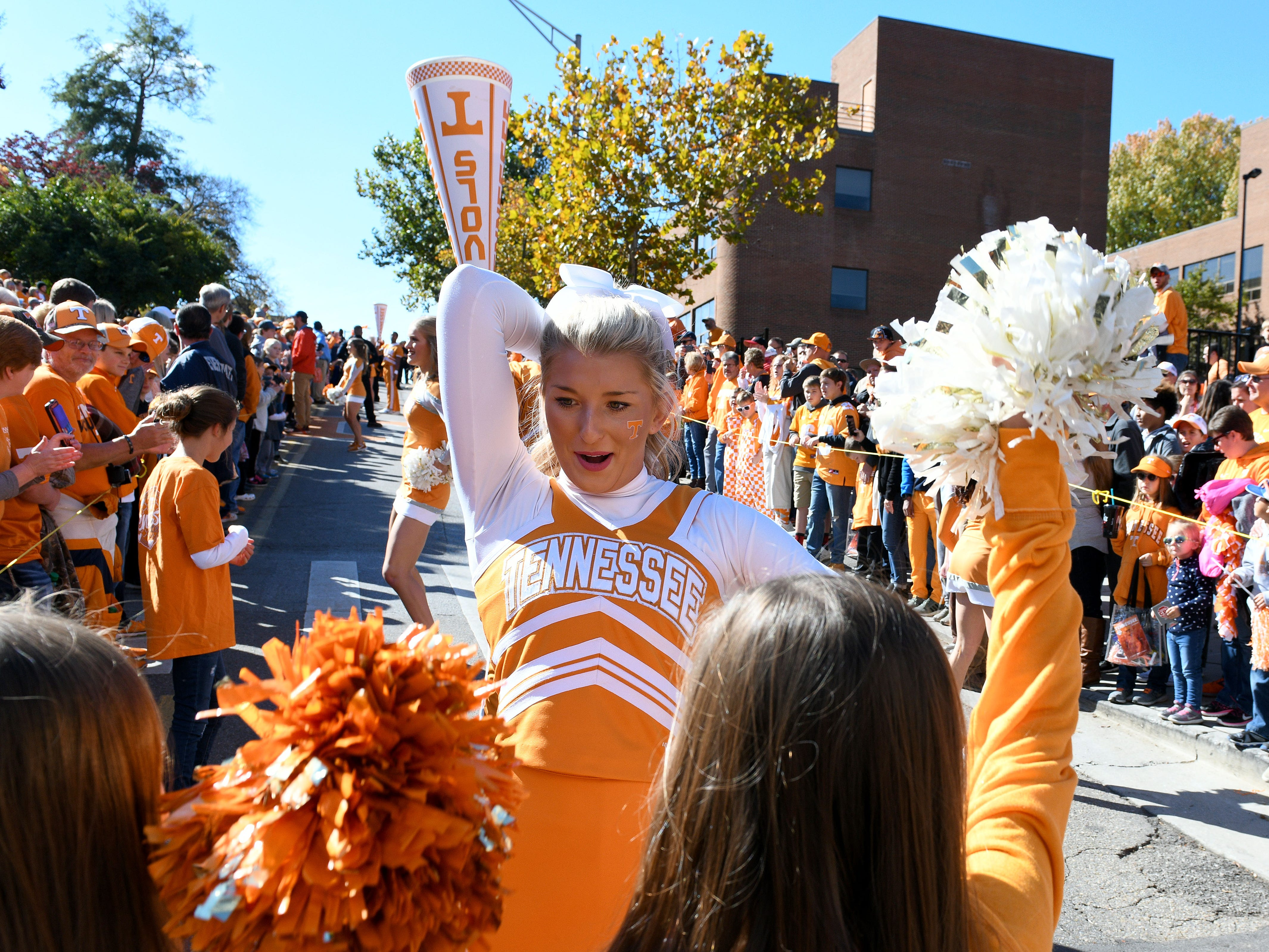 Tennessee cheerleaders during pregame activities before the game against Charlotte Saturday, November 3, 2018 at Neyland Stadium in Knoxville, Tenn.