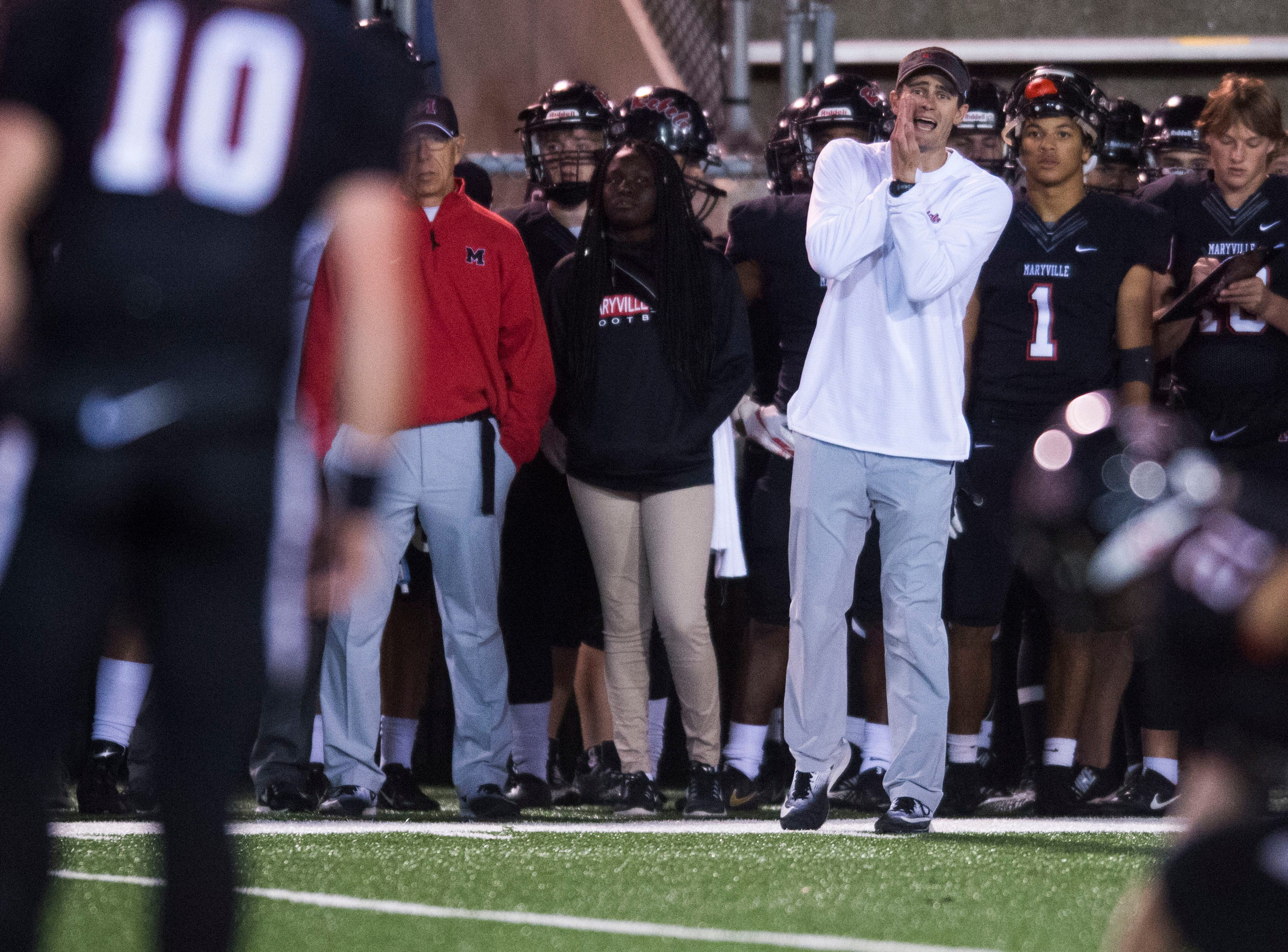 Maryville Head Coach Derek Hunt yells a play during a first round playoff game between Maryville and Bearden at Maryville, Friday, Nov. 2, 2018. Maryville defeated Bearden 28-7.