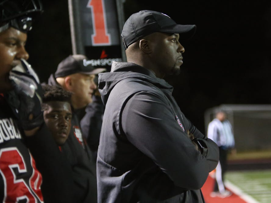 Central head coach Bryson Rosser watches his team during the Central versus Cocke County 2018 TSSAA high school football play-off game at Central high school in Knoxville Friday Nov. 2, 2018. Central defeated Cocke County 48-6.