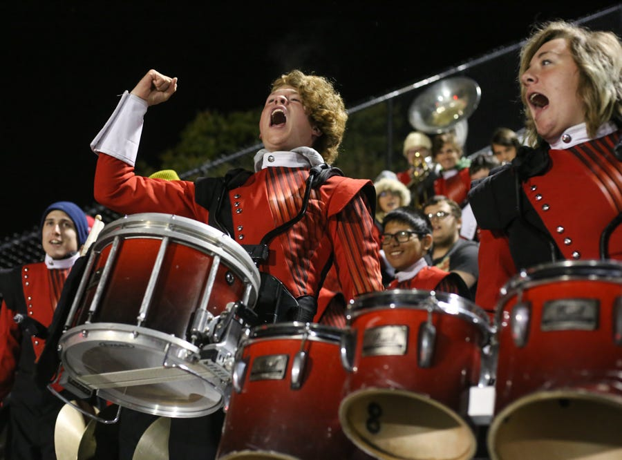 Cocke County drummer Gage Brown, center, leads a cheer during the Central versus Cocke County high school football game at Central high school in Knoxville Friday Nov. 2, 2018.