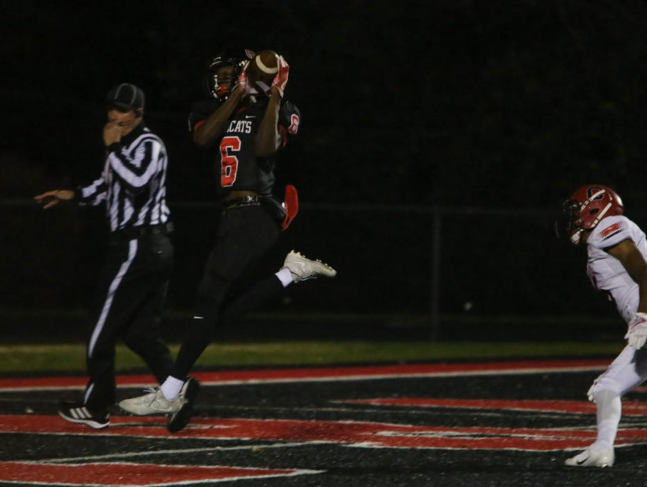 Central's Demetrien Johnson (6) catches a touchdown pass during the Central versus Cocke County 2018 TSSAA high school football play-off game at Central high school in Knoxville Friday Nov. 2, 2018. Central defeated Cocke County 48-6.