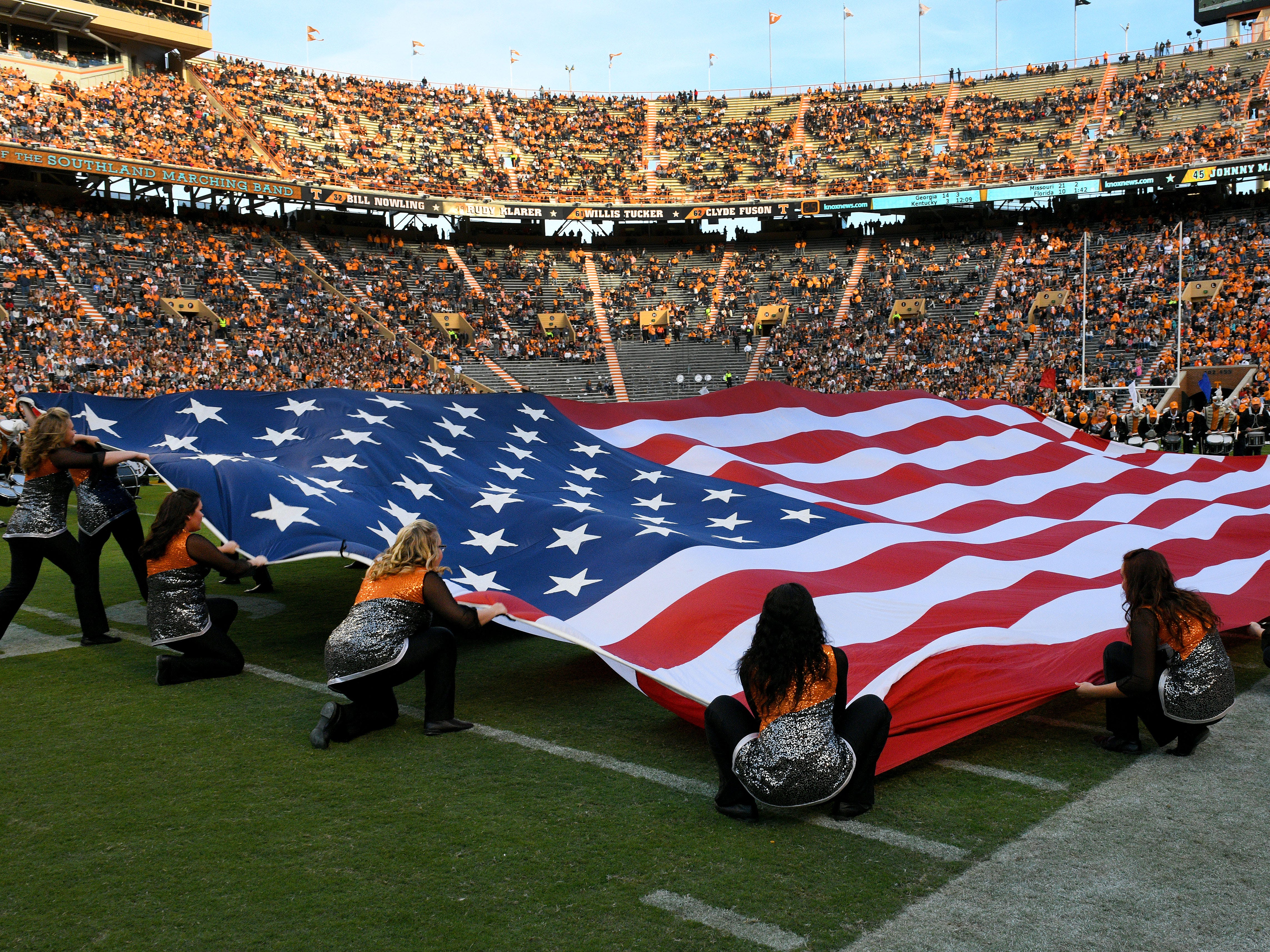 The halftime show during the Tennessee vs.  Charlotte game Saturday, November 3, 2018 at Neyland Stadium in Knoxville, Tenn.