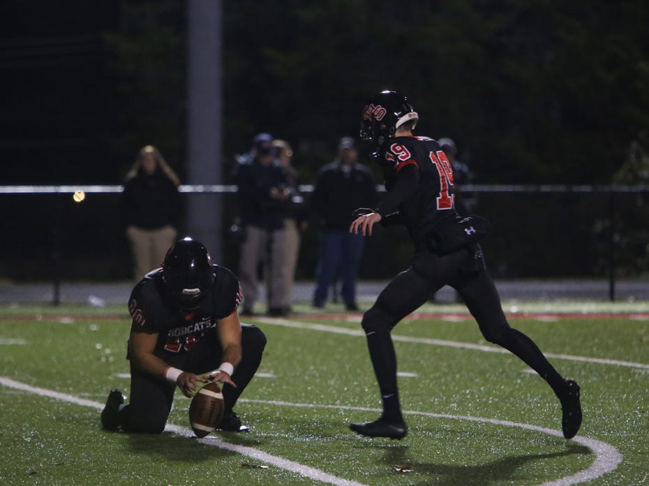 Central's Jarred Swislosky punts during the Central versus Cocke County 2018 TSSAA high school football play-off game at Central high school in Knoxville Friday Nov. 2, 2018. Central defeated Cocke County 48-6.