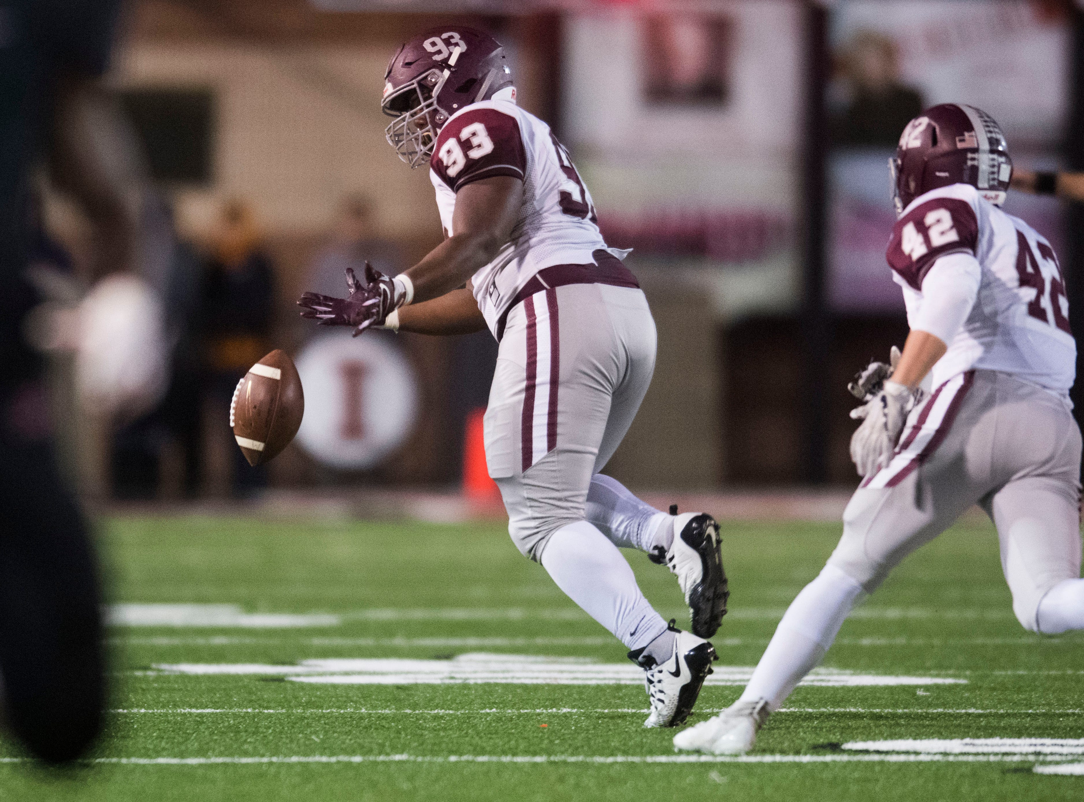 Bearden's AJ Simon (93) attempts to control a fumbled ball during a first round playoff game between Maryville and Bearden at Maryville, Friday, Nov. 2, 2018. Maryville defeated Bearden 28-7.