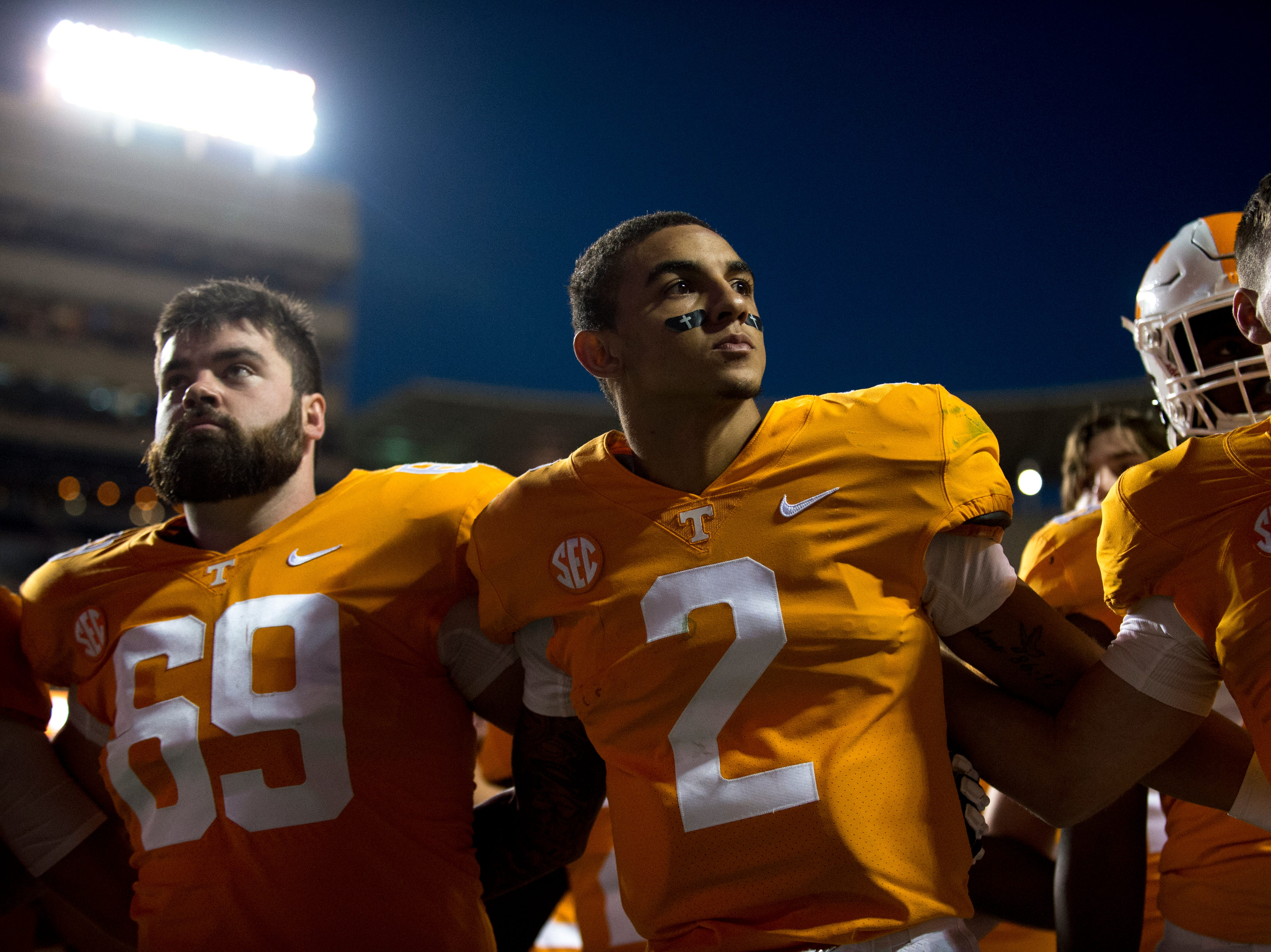 Tennessee quarterback Jarrett Guarantano (2) celebrates after Tennessee's 14-3 win over Charlotte during its homecoming game at Neyland Stadium in Knoxville, Tennessee on Saturday, November 3, 2018.
