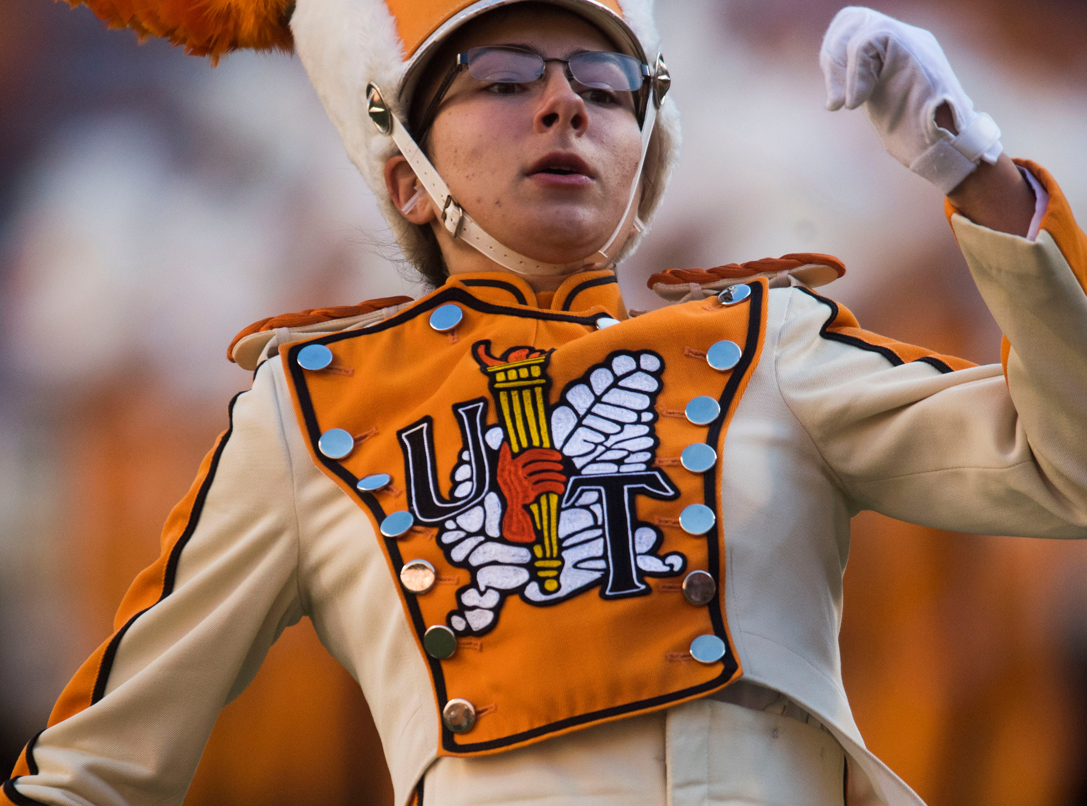 The Pride of the Southland drum major struts on the field during the homecoming game between Tennessee and Charlotte outside of Neyland Stadium Saturday, Nov. 3, 2018.