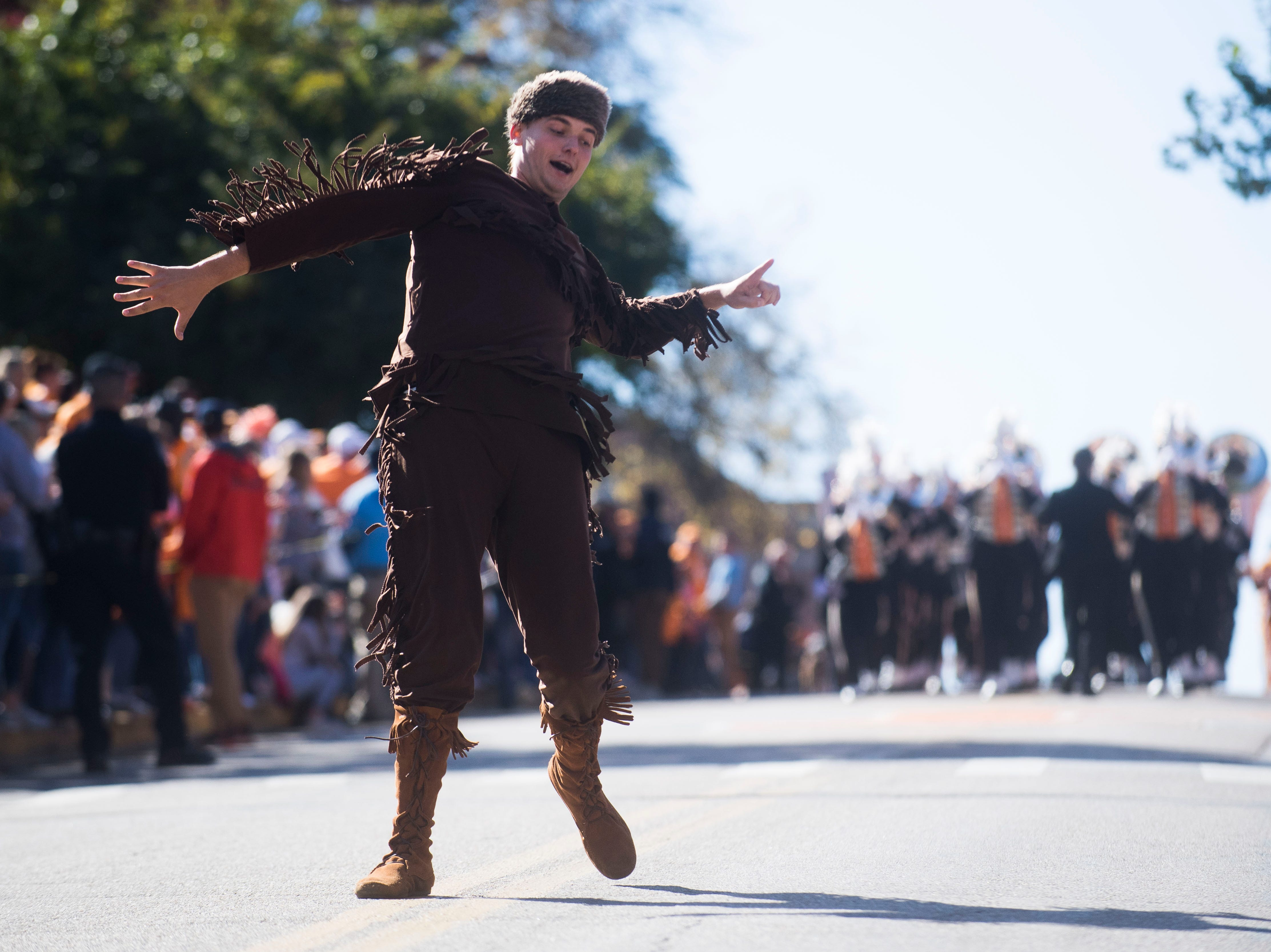 The Volunteer runs in the Vol Walk before the homecoming game between Tennessee and Charlotte outside of Neyland Stadium Saturday, Nov. 3, 2018.