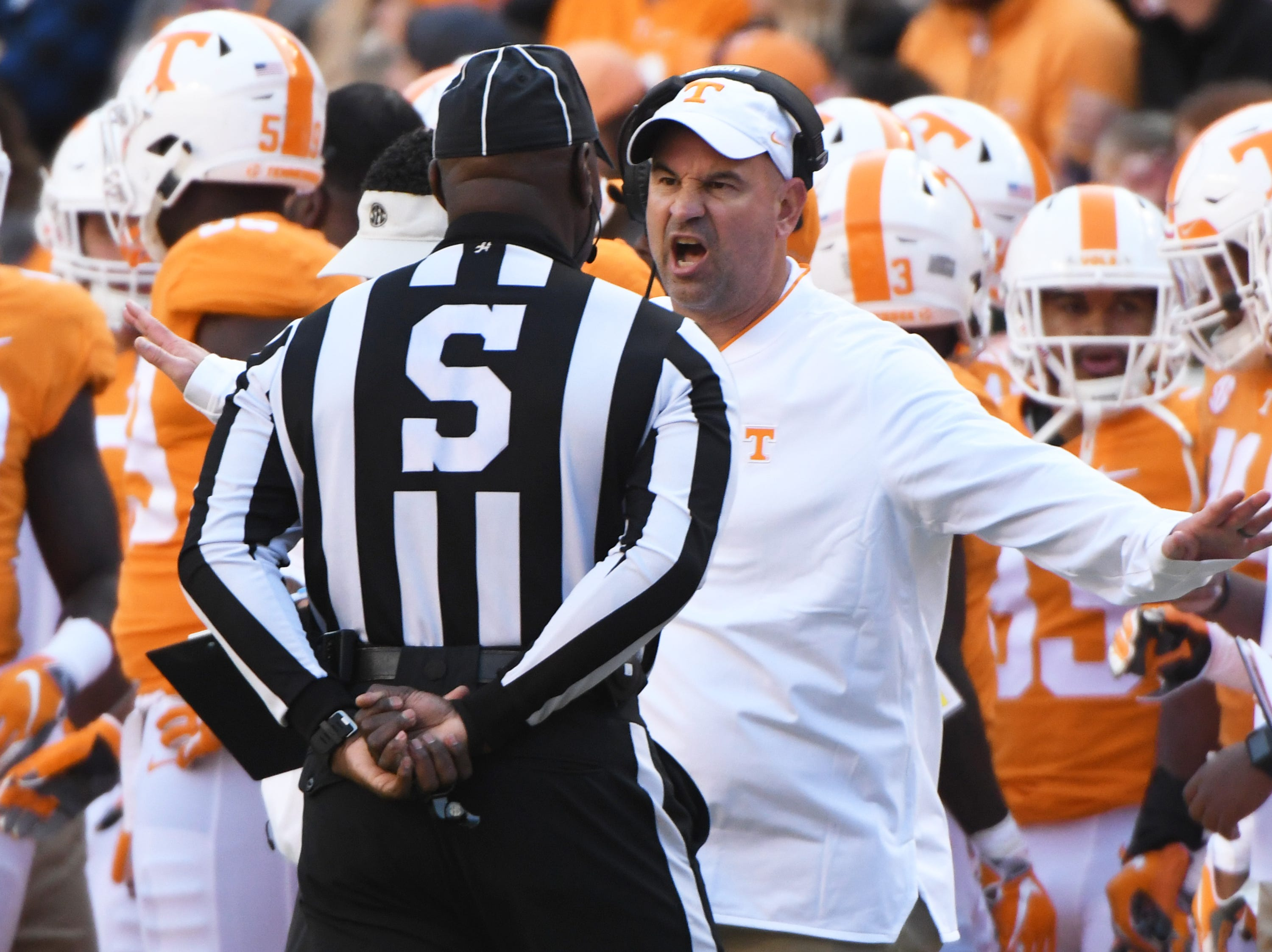 Tennessee Head Coach Jeremy Pruitt yells at an official during the homecoming game between Tennessee and Charlotte outside of Neyland Stadium Saturday, Nov. 3, 2018.
