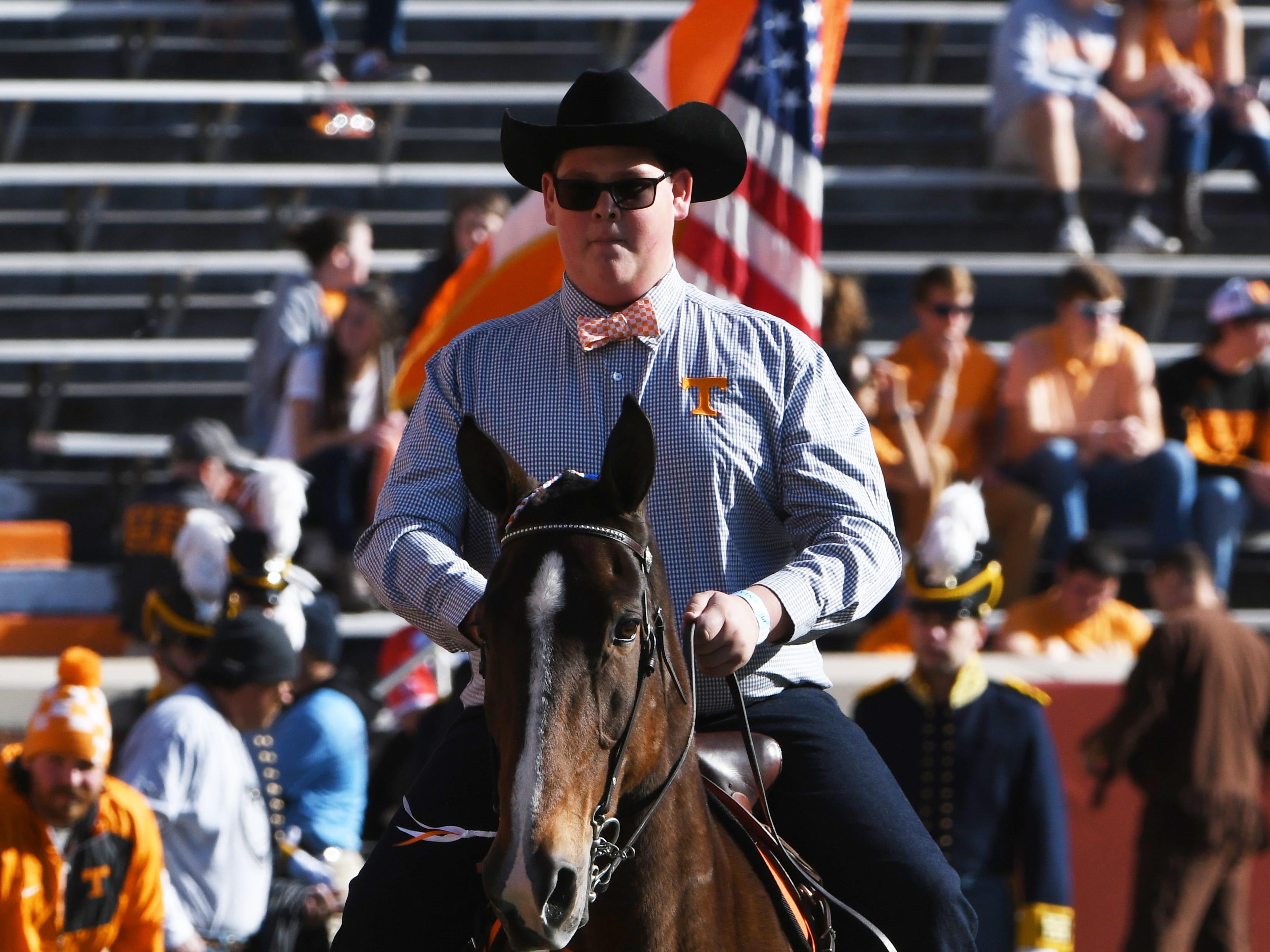 The Tennessee Walking Horse walks around the stadium during the homecoming game between Tennessee and Charlotte outside of Neyland Stadium Saturday, Nov. 3, 2018.