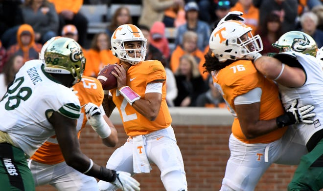 Tennessee quarterback Jarrett Guarantano (2) during second-half action against Charlotte on Saturday.