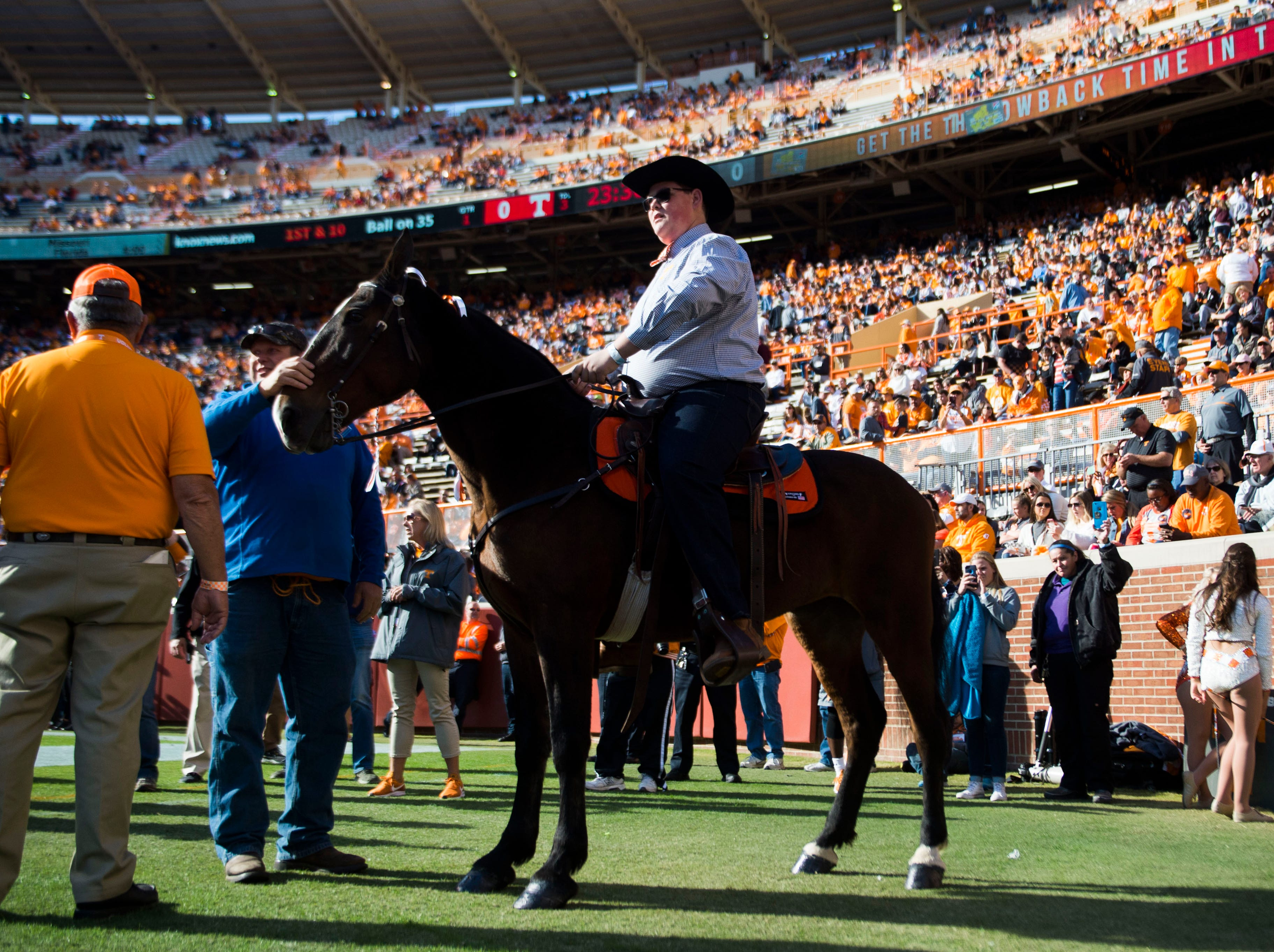 The Tennessee Walking Horse and it's rider prepare to ride on the field before the homecoming game between Tennessee and Charlotte outside of Neyland Stadium Saturday, Nov. 3, 2018.