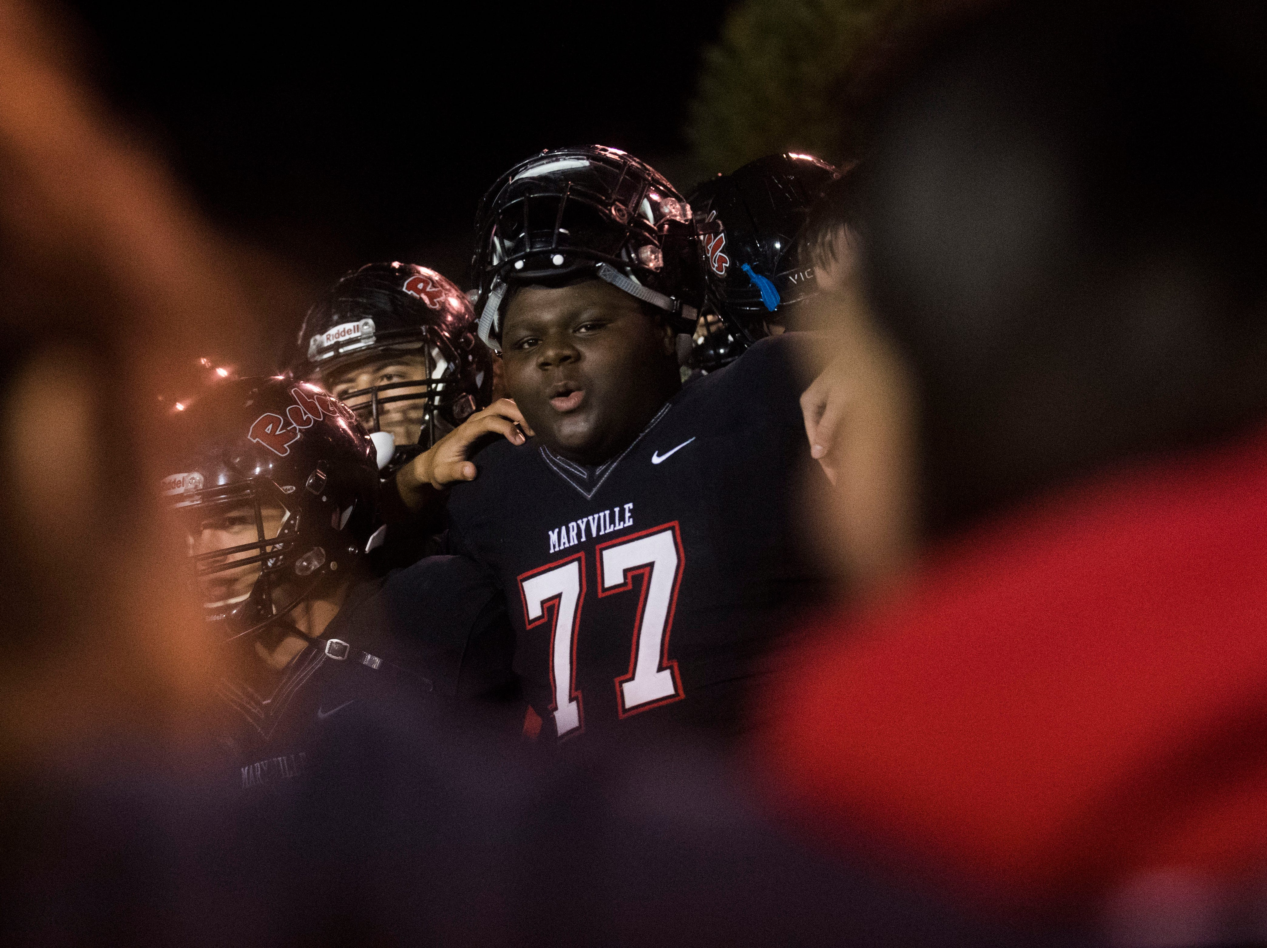 Maryville's Eugene Swinger (77) sings Maryville's almamater with teammates during a first round playoff game between Maryville and Bearden at Maryville, Friday, Nov. 2, 2018. Maryville defeated Bearden 28-7.